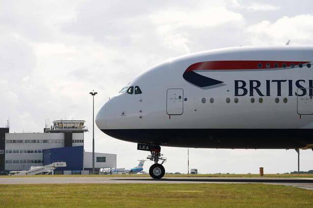 Cardiff Wales Airport - British Airways plane on the runway