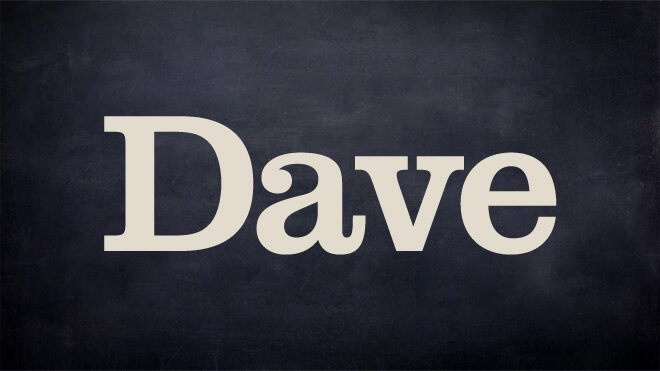Saturday night television - TV channel DAVE logo