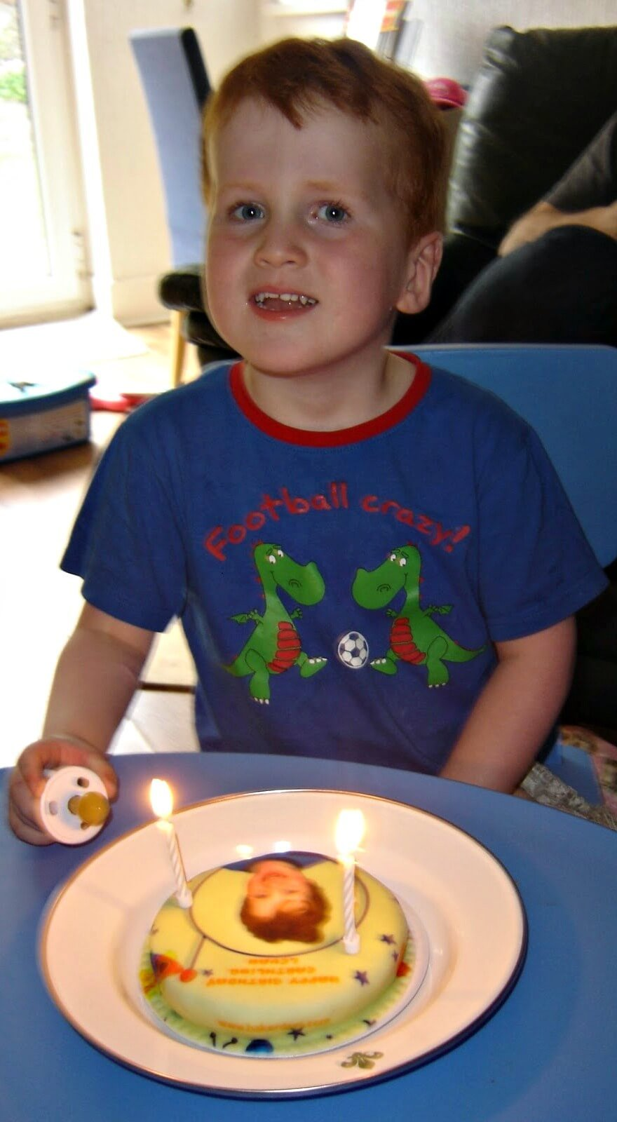 Baker Days letterbox cakes - Ieuan enjoying his cake