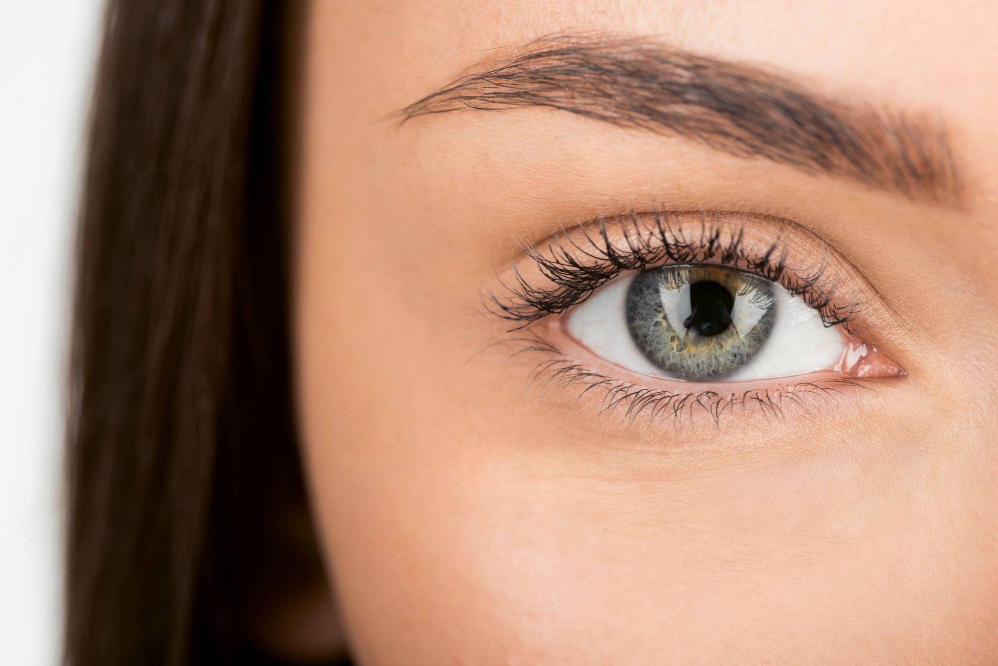 Collyre Bleu eyedrops - close up of woman's eyes