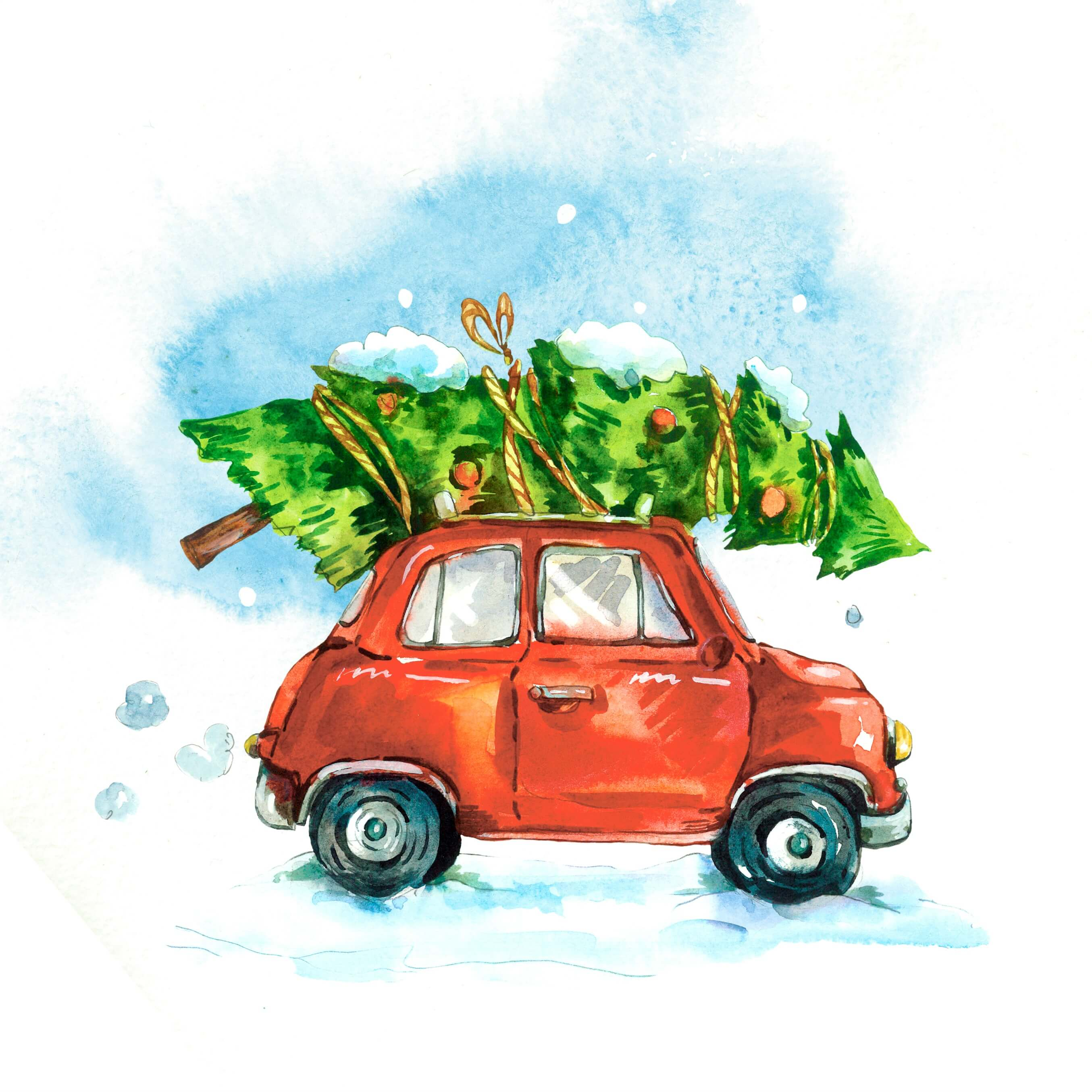 Christmas shopping list - cartoon of a small red car with an enormous Christmas tree on the roof