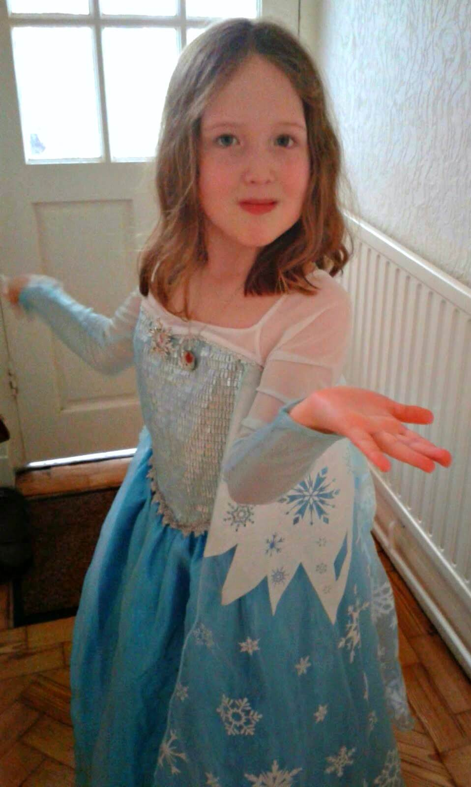 Caitlin as Elsa - poem for World Book Day