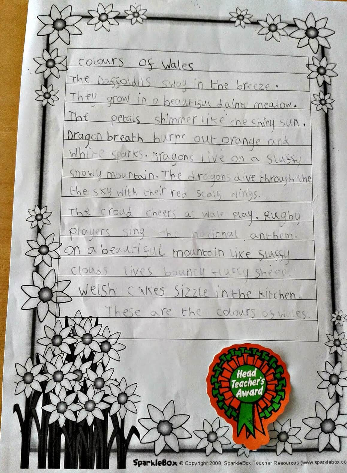 """poem for St. David's Day - Caitlin's poem """"Colours of Wales"""""""
