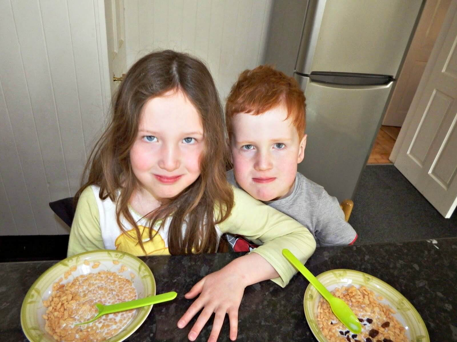 Use your freezer to save money - Caitlin & Ieuan at breakfast