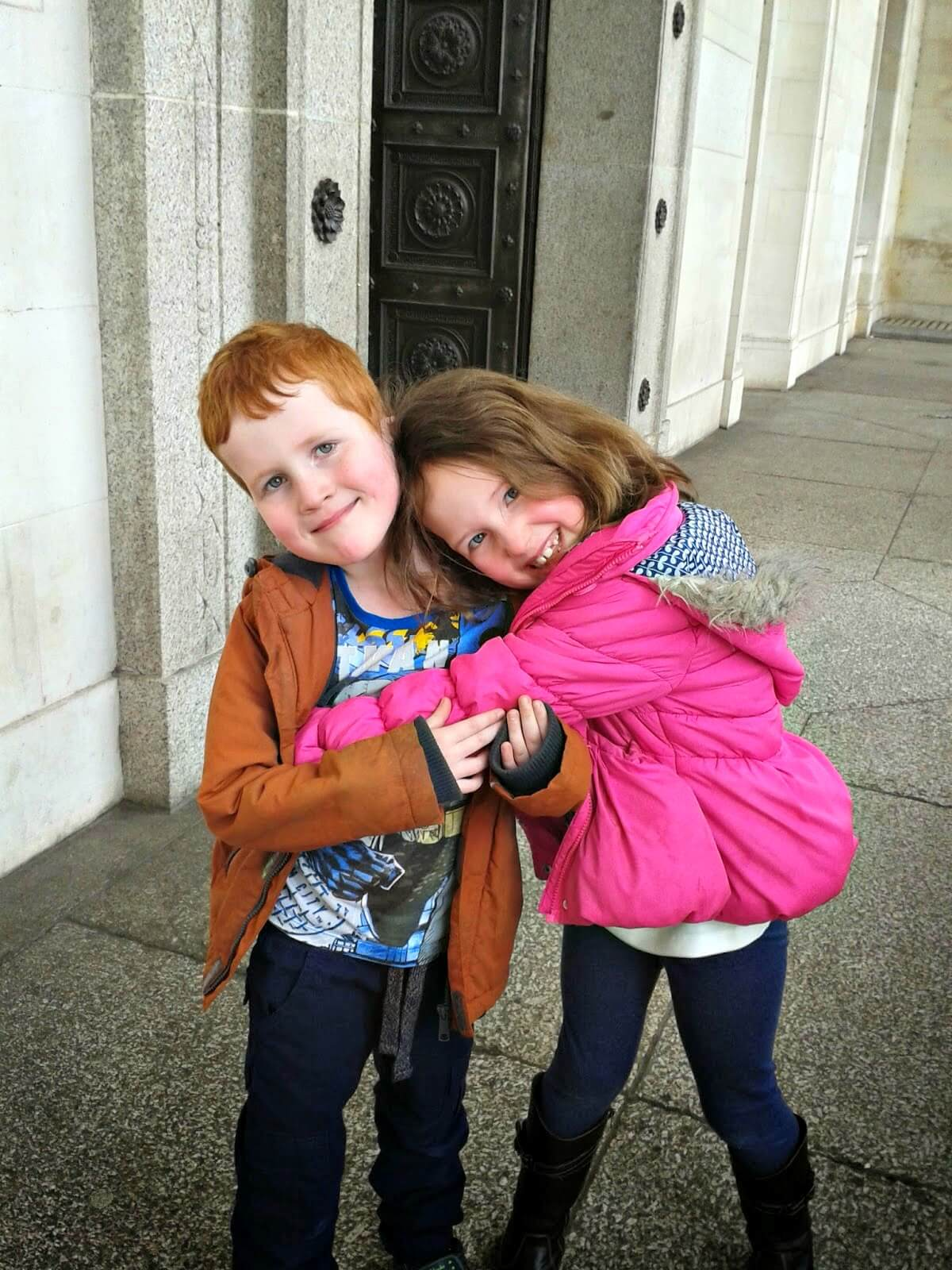 museums to visit in Cardiff -Caitlin and Ieuan outside National Museum Cardiff