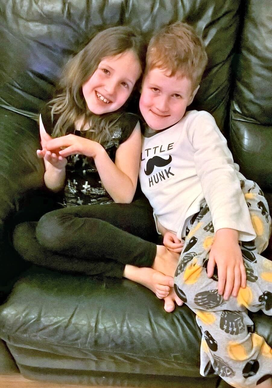 life lessons to share - Caitlin and Ieuan on the sofa