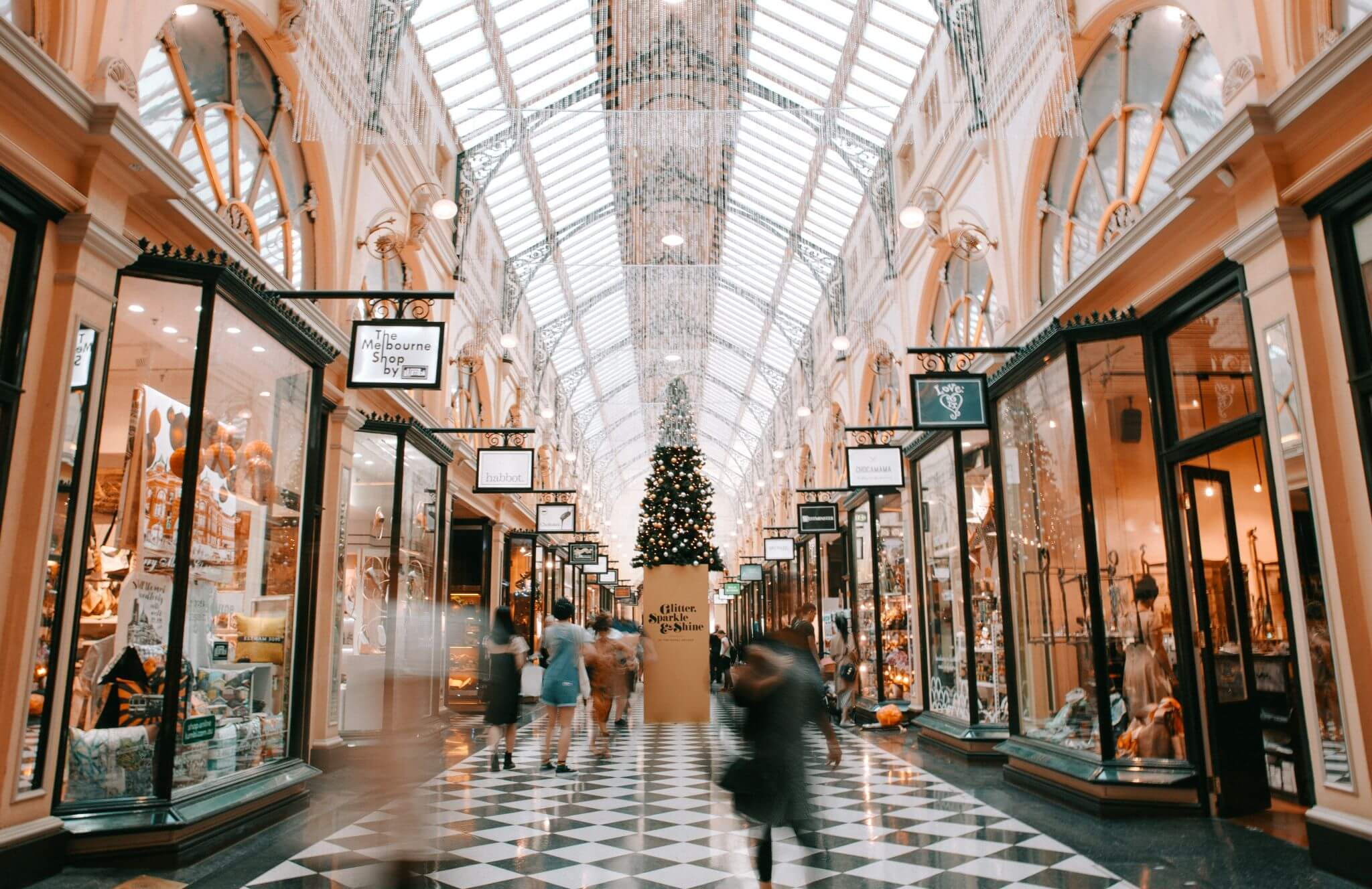 keep cool when Christmas shopping - indoor shopping mall