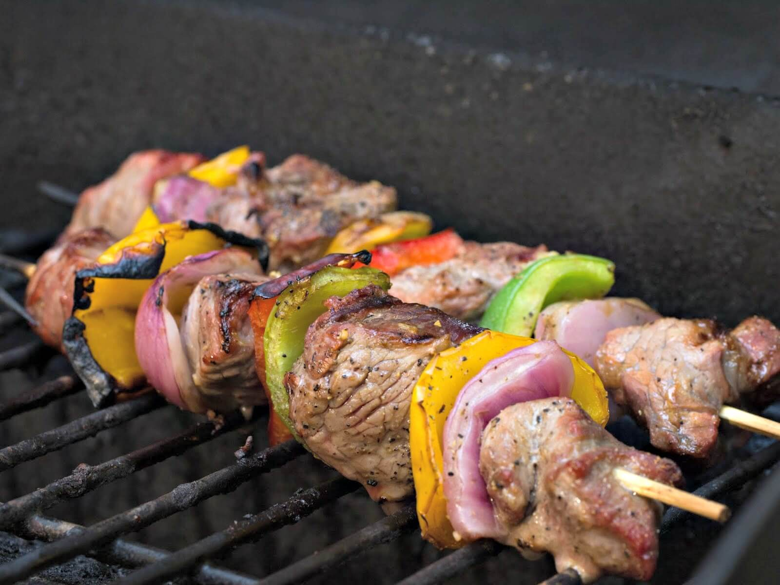 barbecue safety - meat kebabs on the barbecue