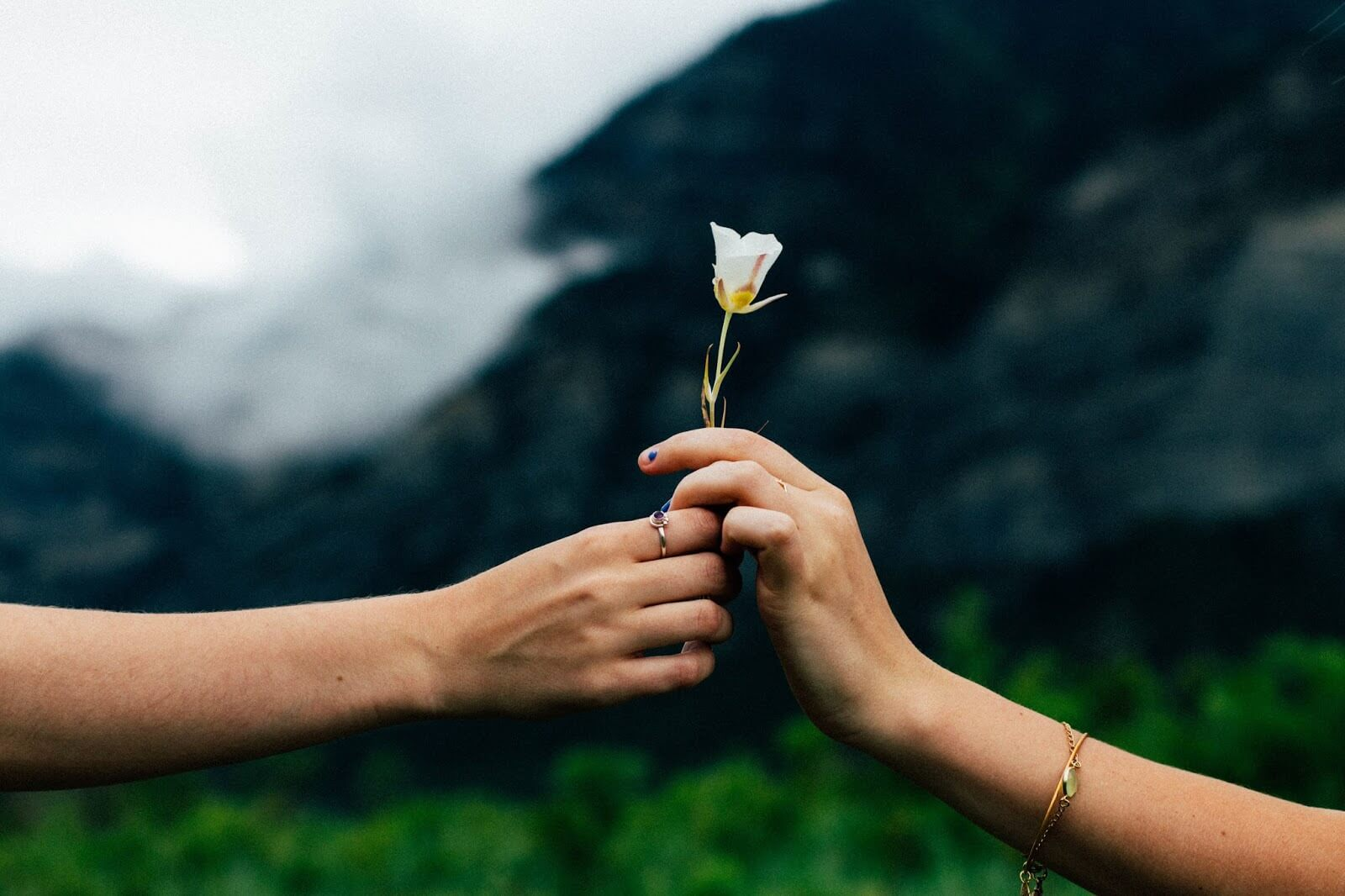 relationship problems - two women handing a flower to one another against a mountain backdrop