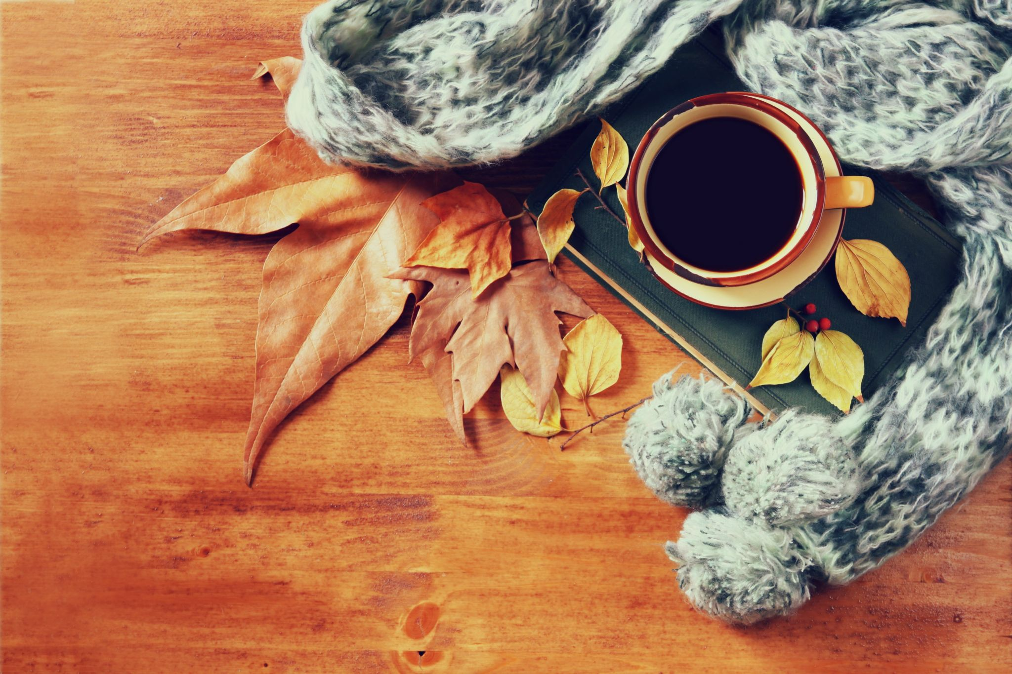 save money on energy bills - wood floor with grey scarf, coffee cup and autumn leaves