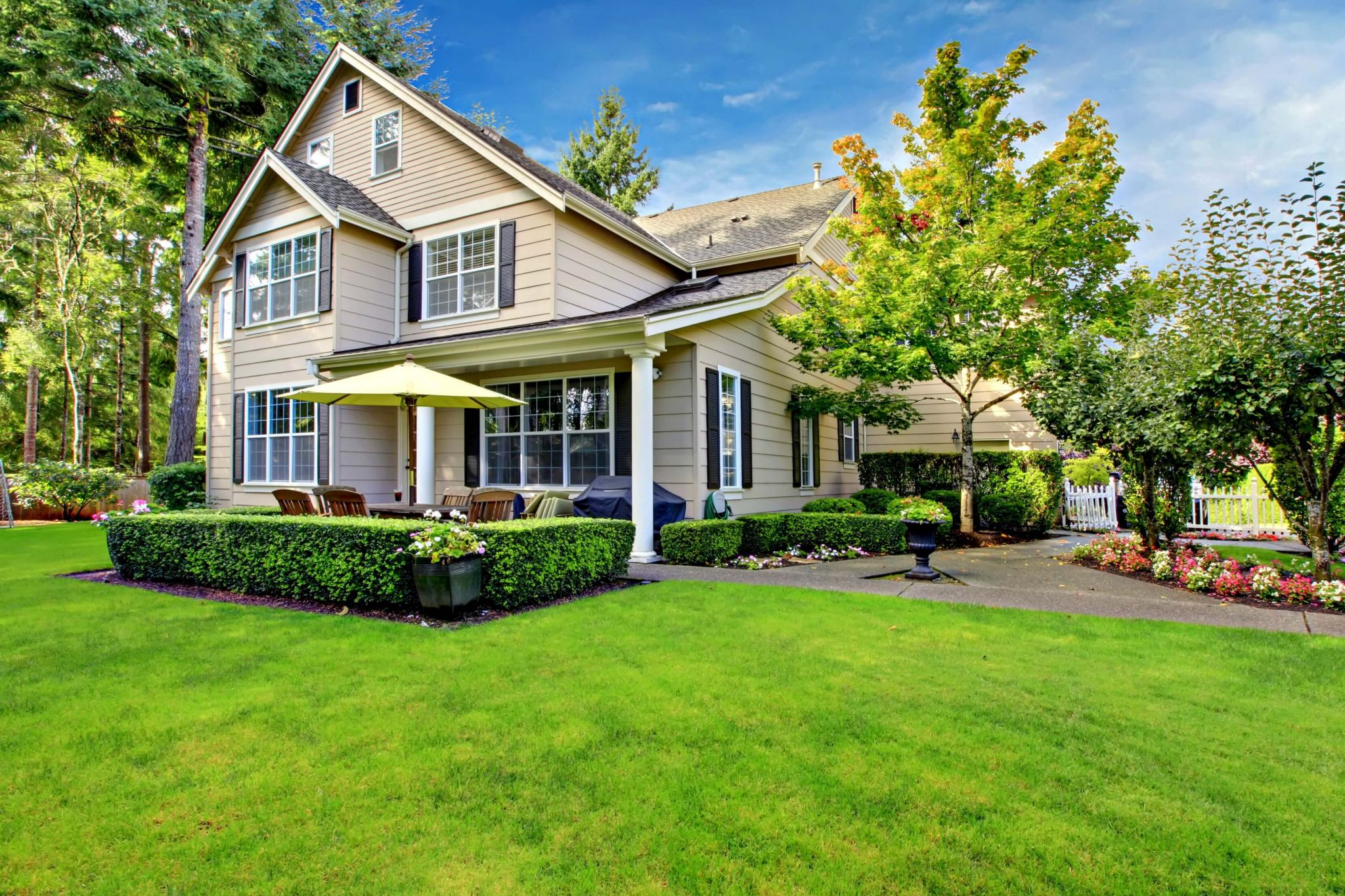 home maintenance checklist - large house exterior and gardens