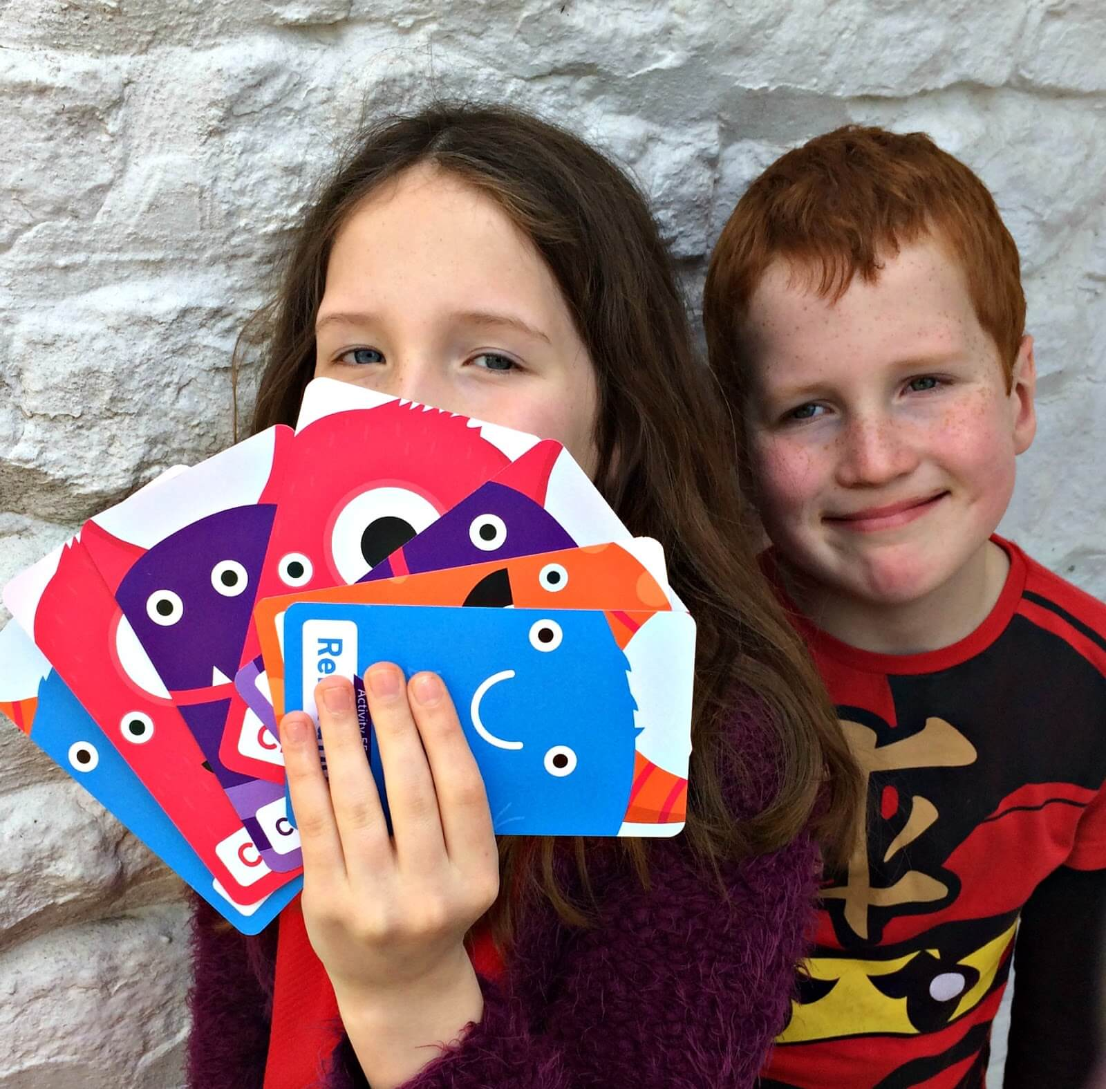 mindfulness training for kids - Caitlin & Ieuan with the Mindful Monster cards