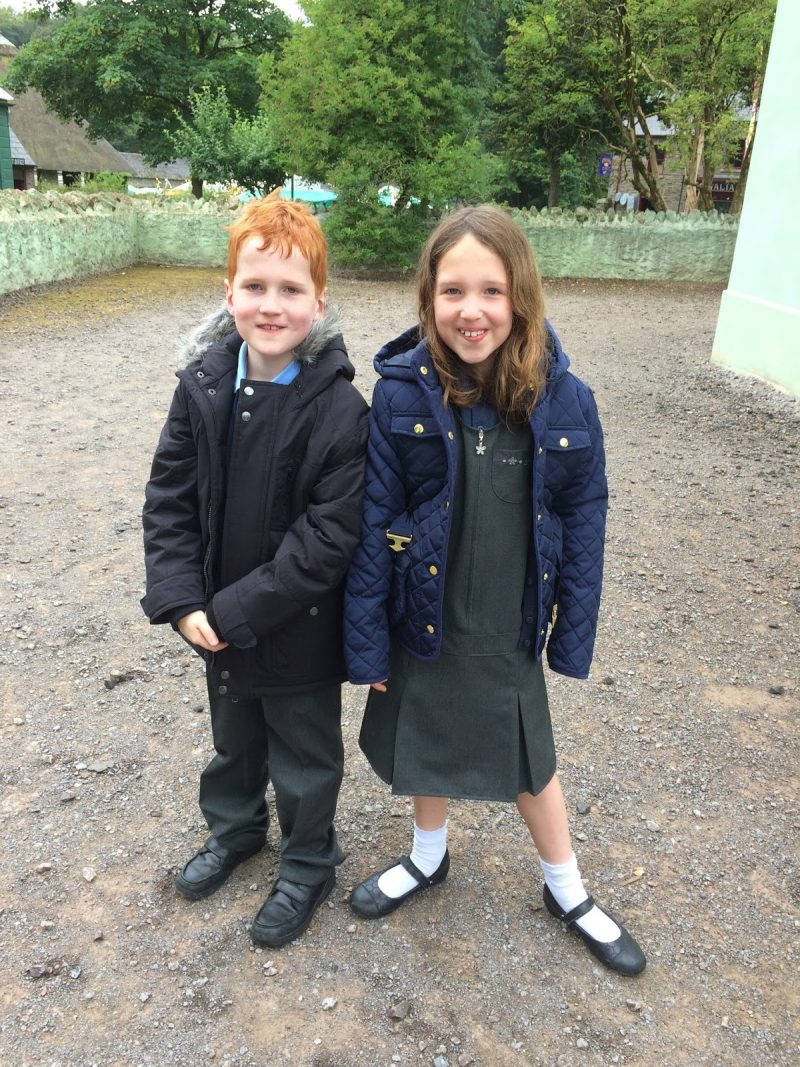 Caitlin & Ieuan in their school uniform at St. Fagans, Cardiff