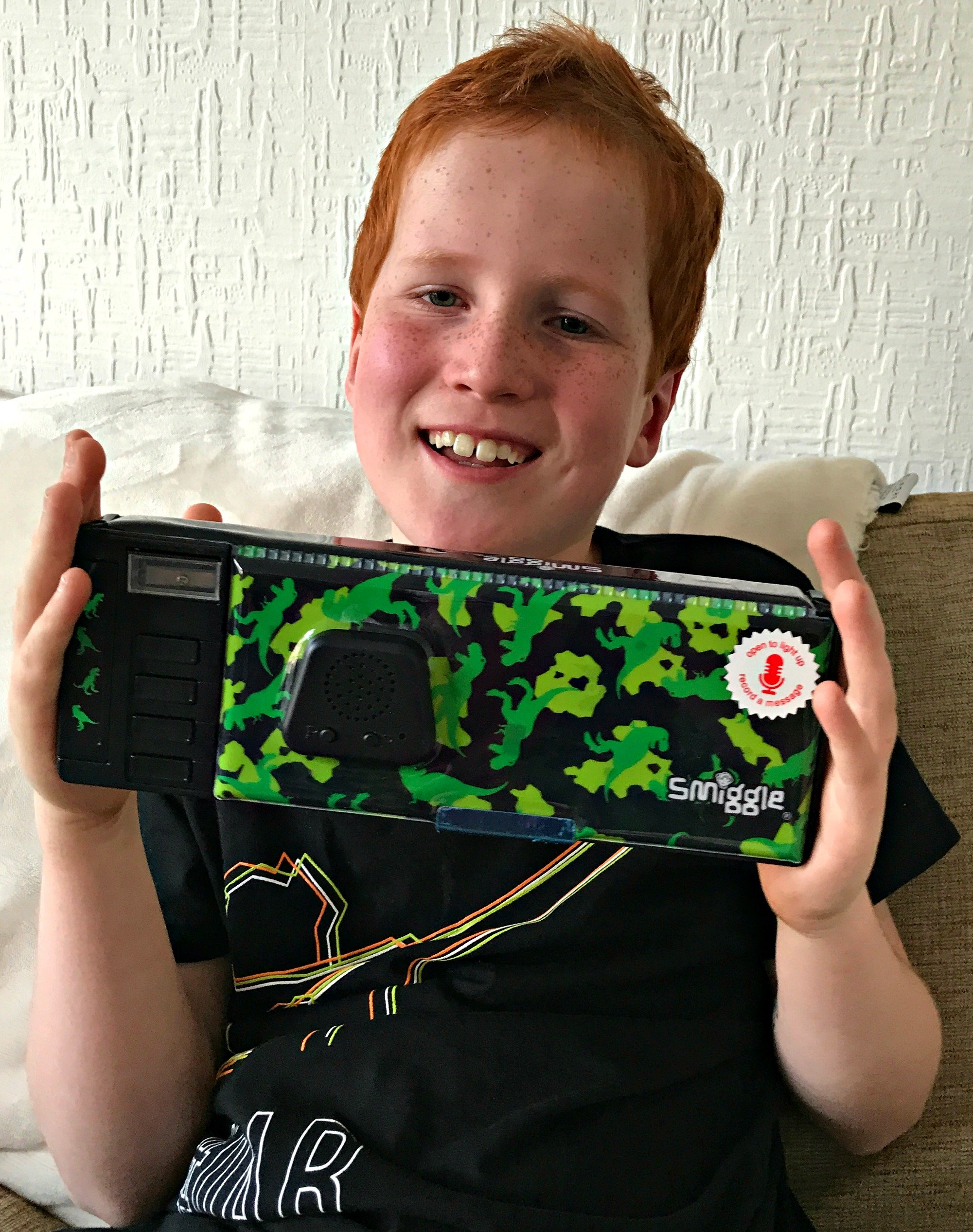 Ieuan with the Smiggle Colourful Adventures Pop Out Pencil Case in Black