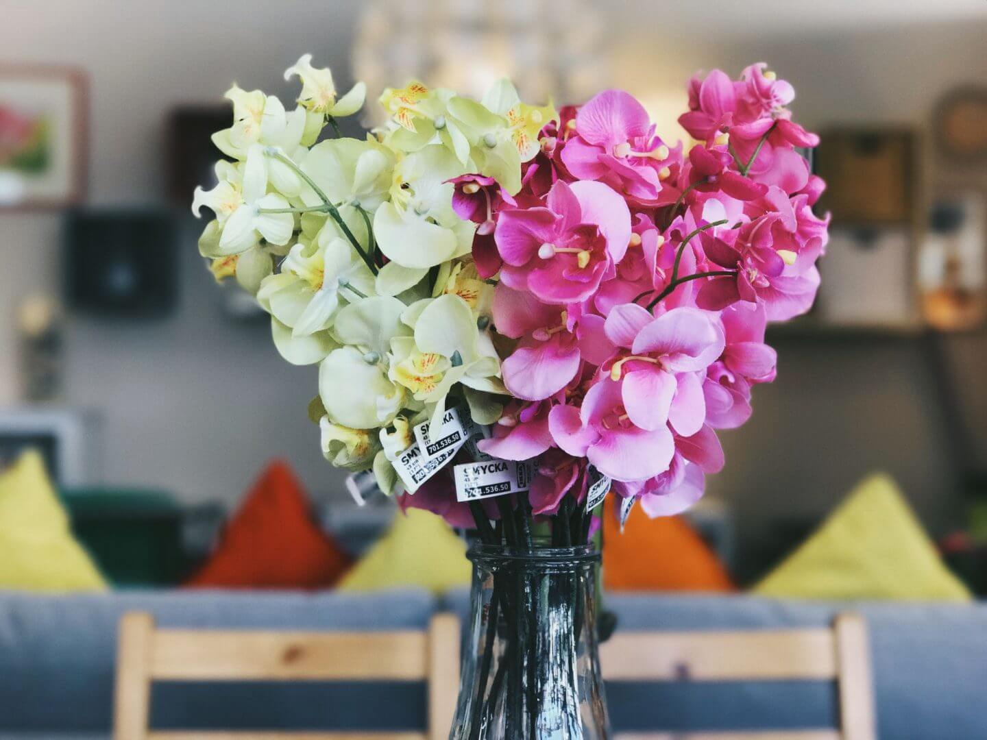 get your home ready for autumn - pink and yellow flowers in a vase