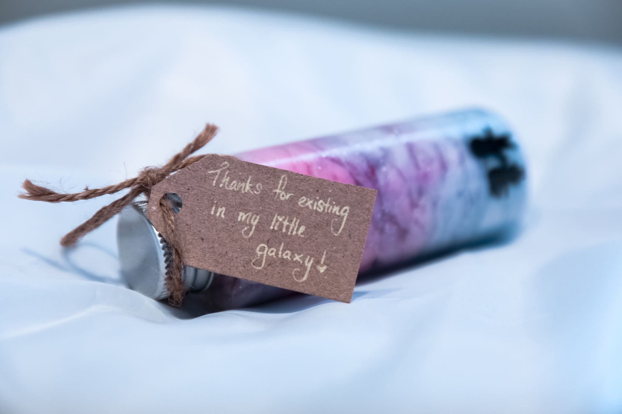gratitude - Little glass bottle with a label- thanks for existing in my galaxy