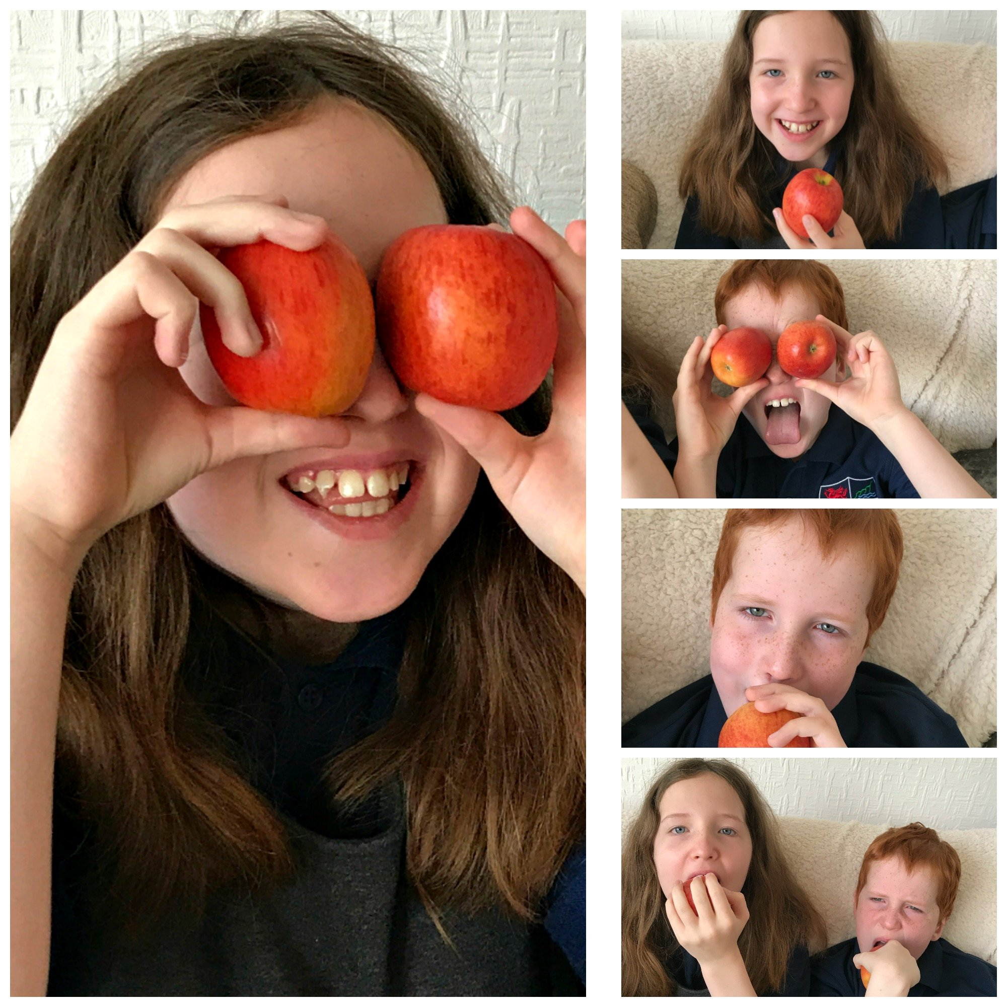 Caitlin & Ieuan playing with Jazz apples