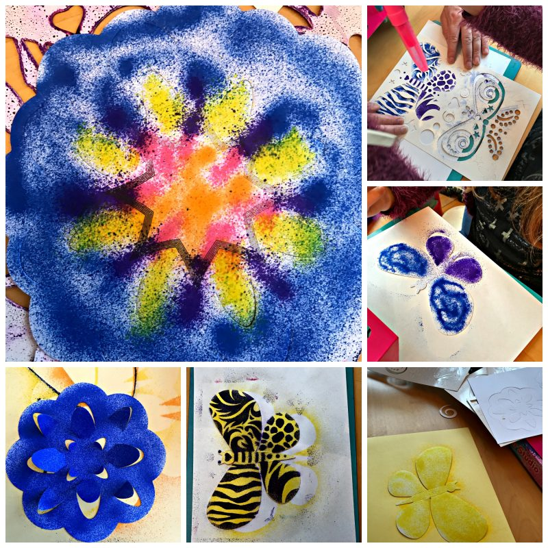 Collages of artwork made from BLOPENS Glitter Studio