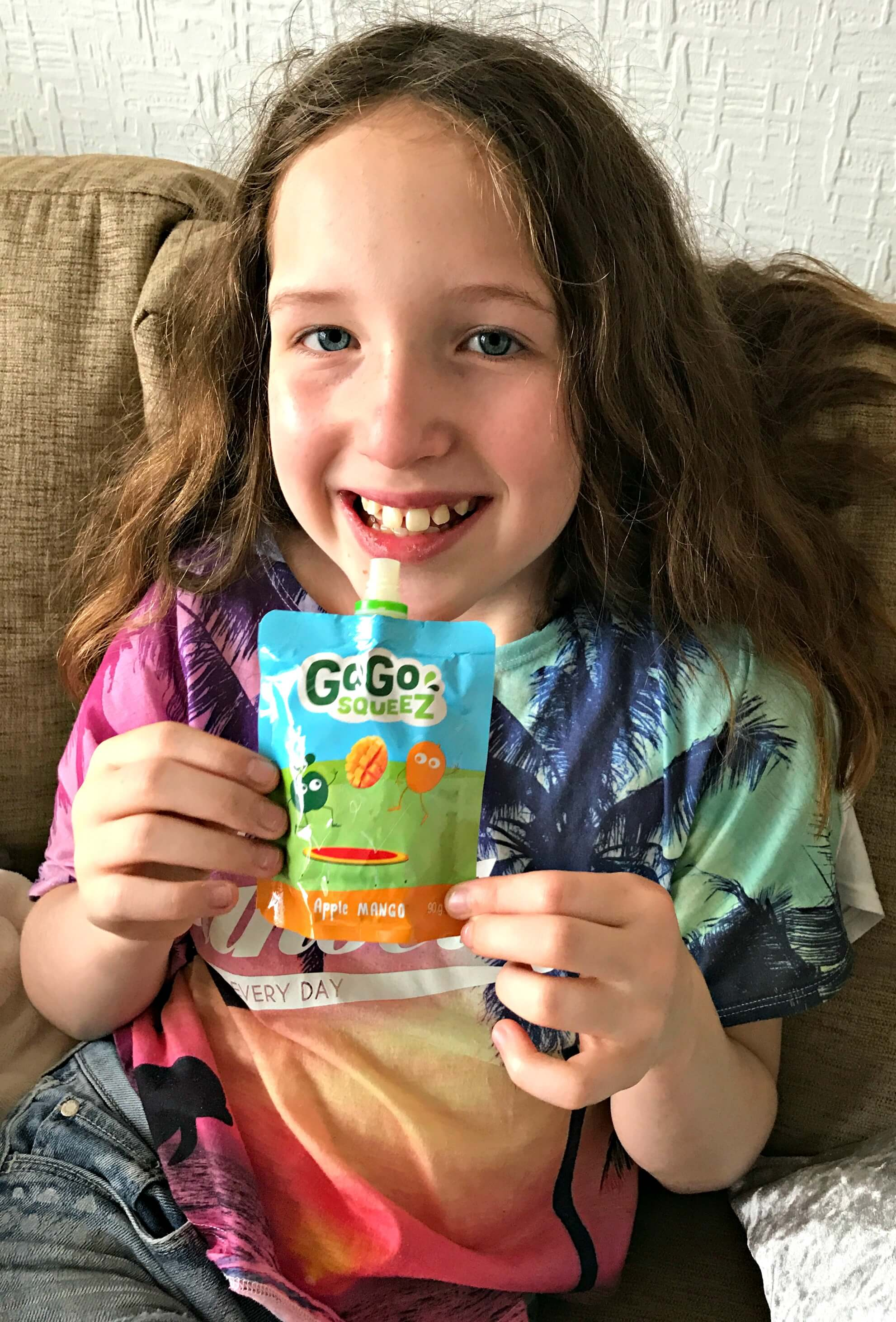 best fruit snack - Caitlin with a GoGo Squeez pouch