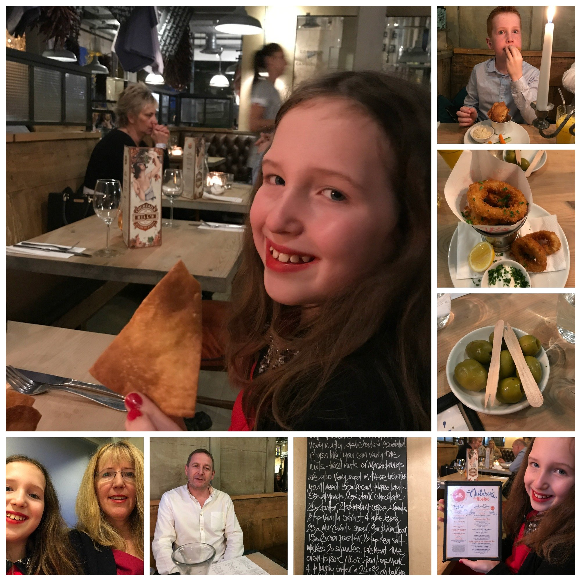 Montage of starters at Bill's Restaurant Cardiff Bay