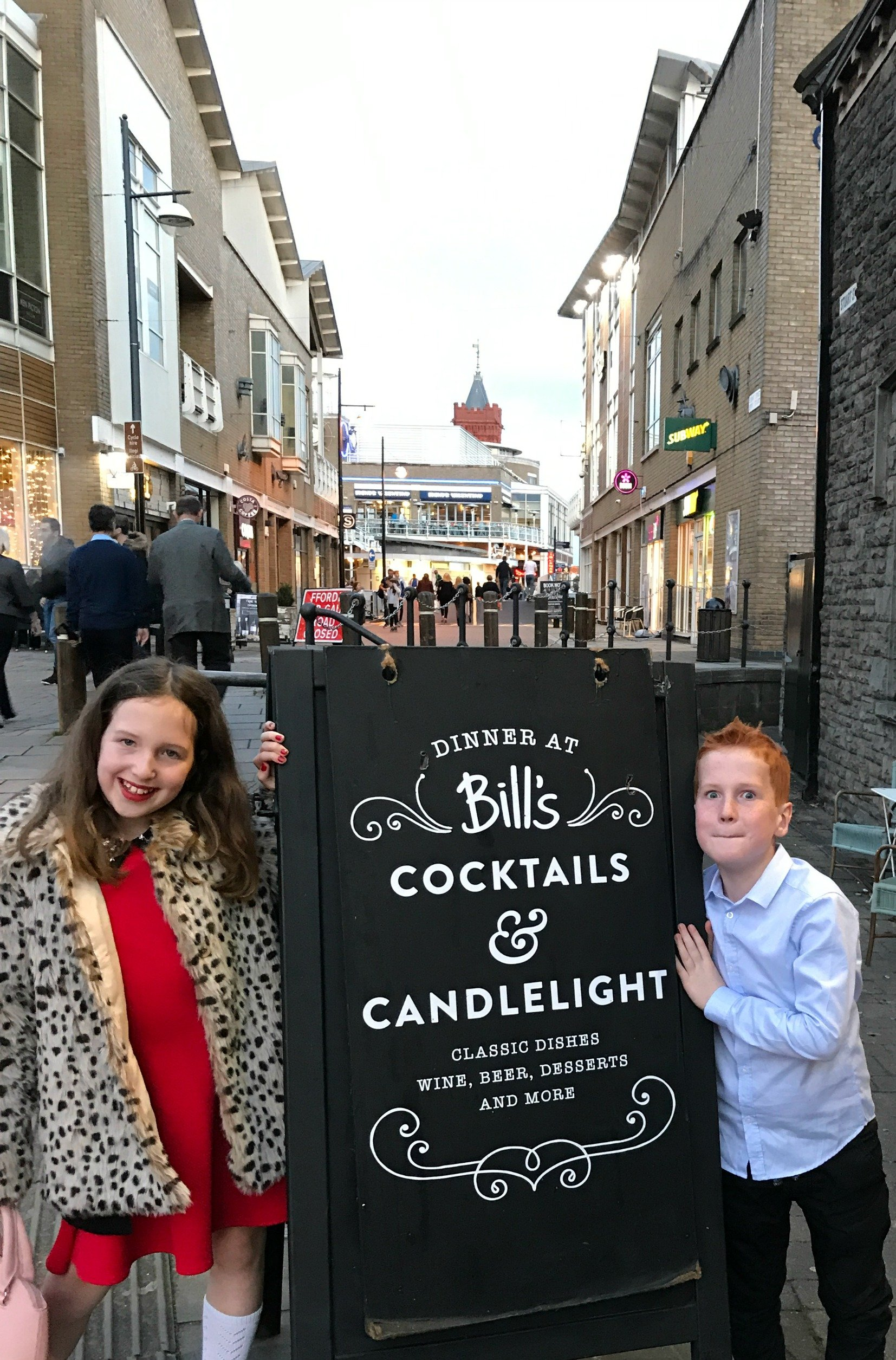 Caitlin and Ieuan outside Bills, Cardiff Bay