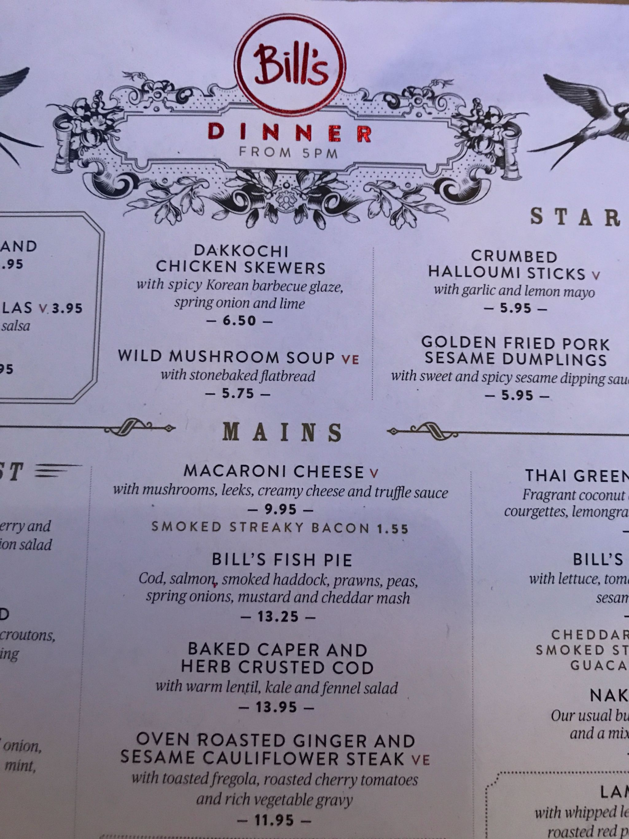 Partial shot of Bills menu