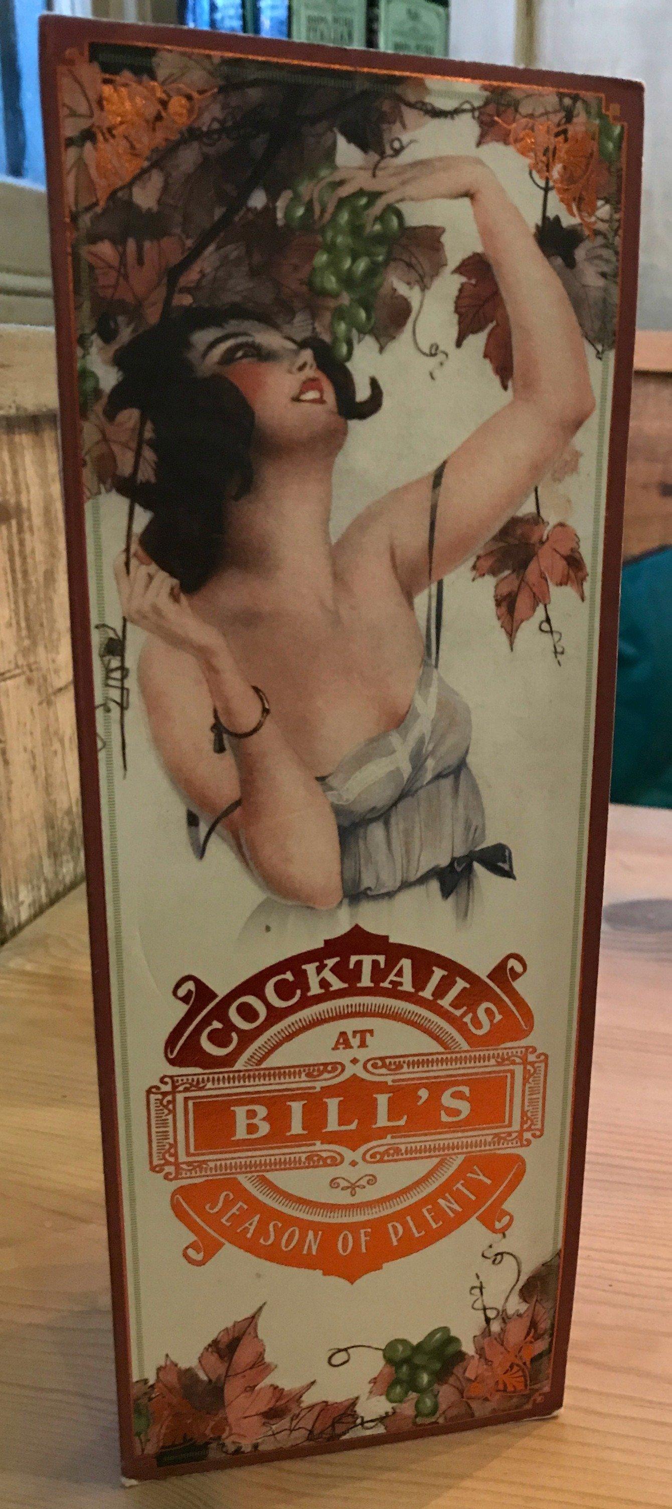 Bill's cocktail menu