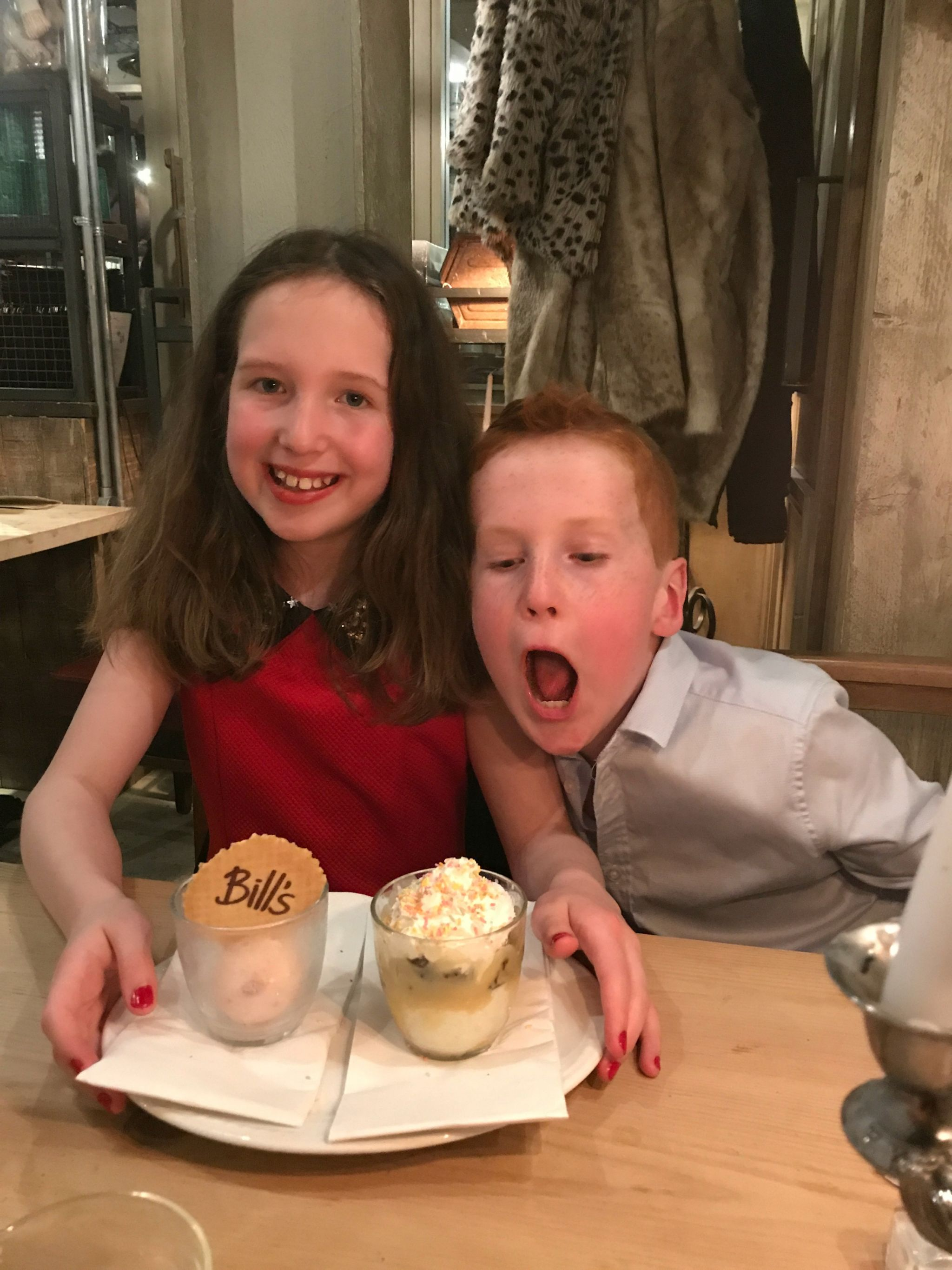 Caitlin & Ieuan with their ice creams at Bill's