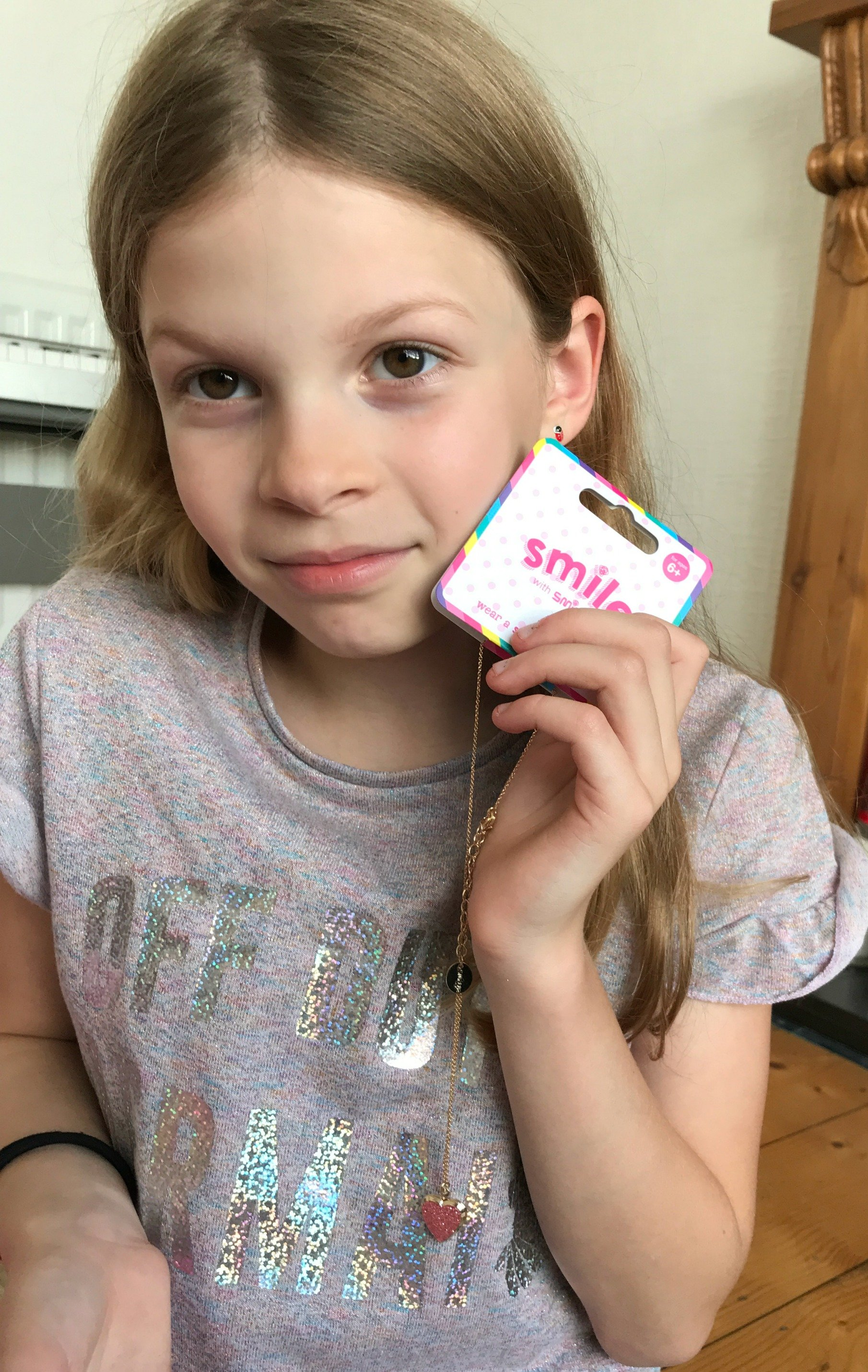 Smiggle Smile Locket Heart Necklace Pink