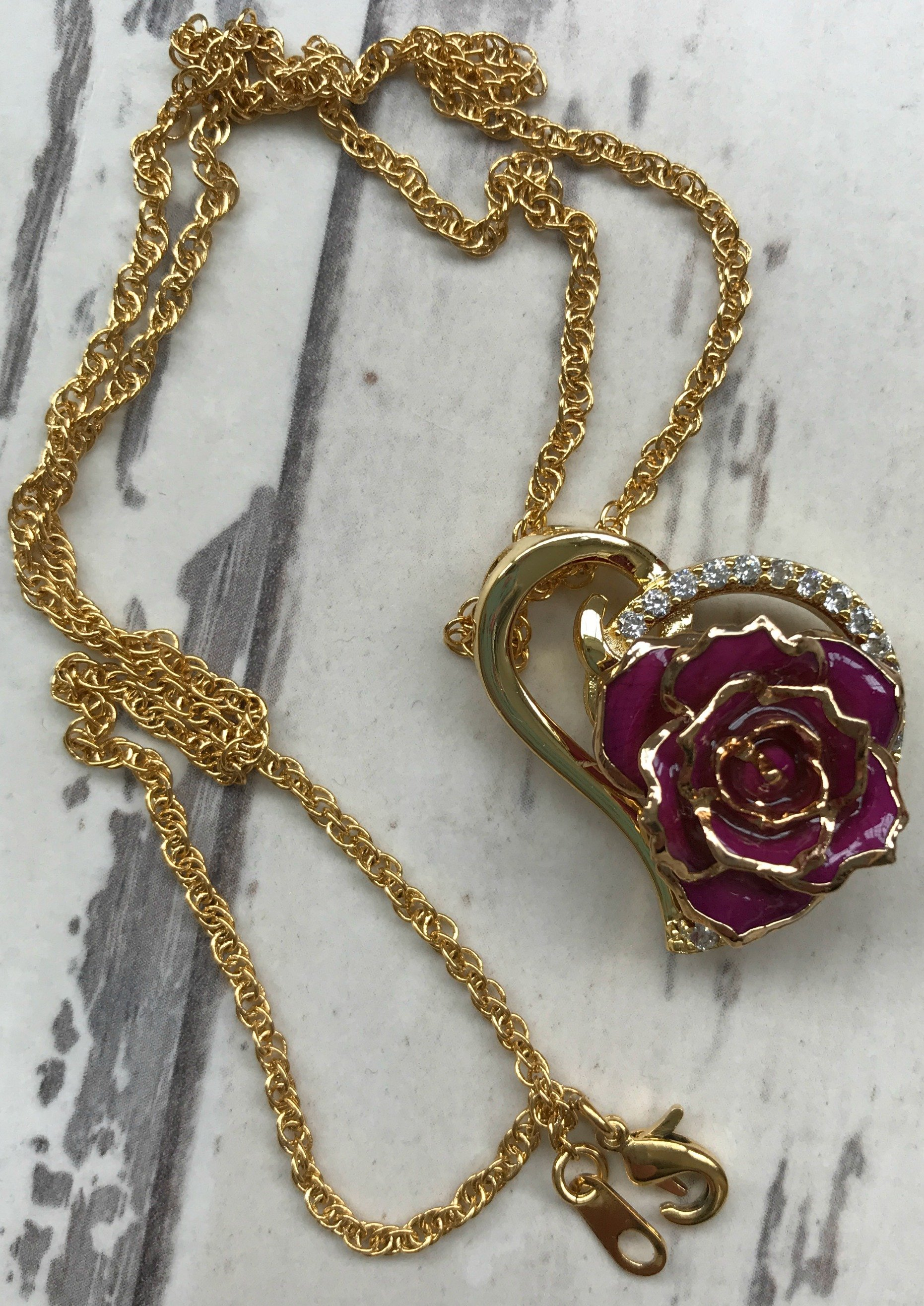 The Eternity Rose - purple rose heart pendant