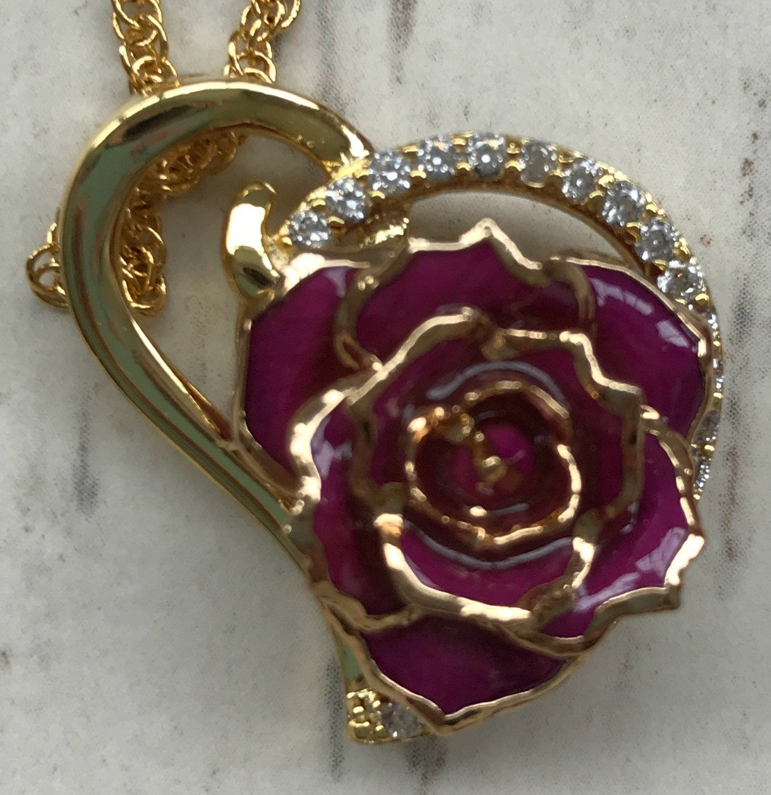 The Eternity Rose - Purple Glazed Rose Heart Pendant