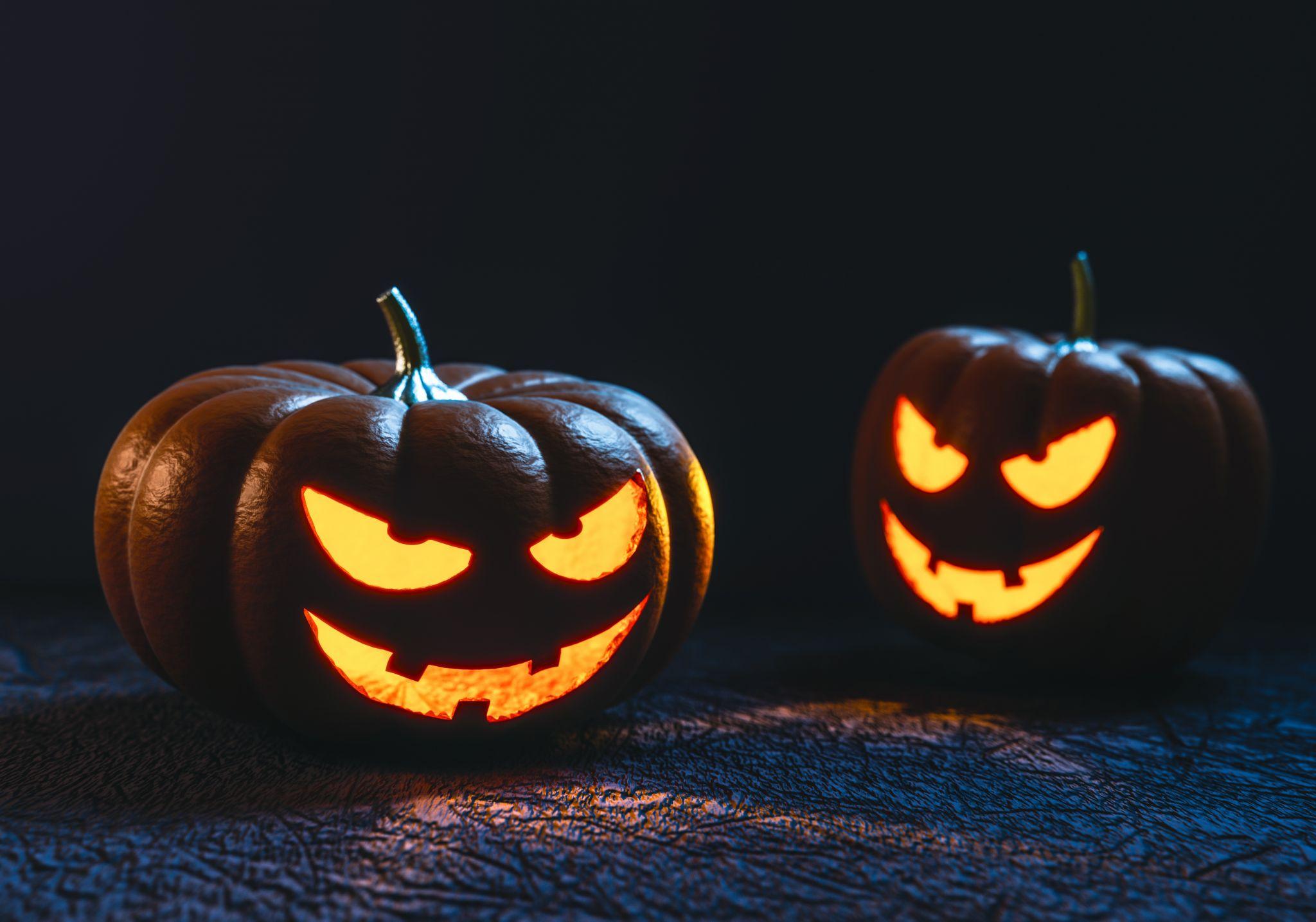 Two spooky Halloween pumpkins