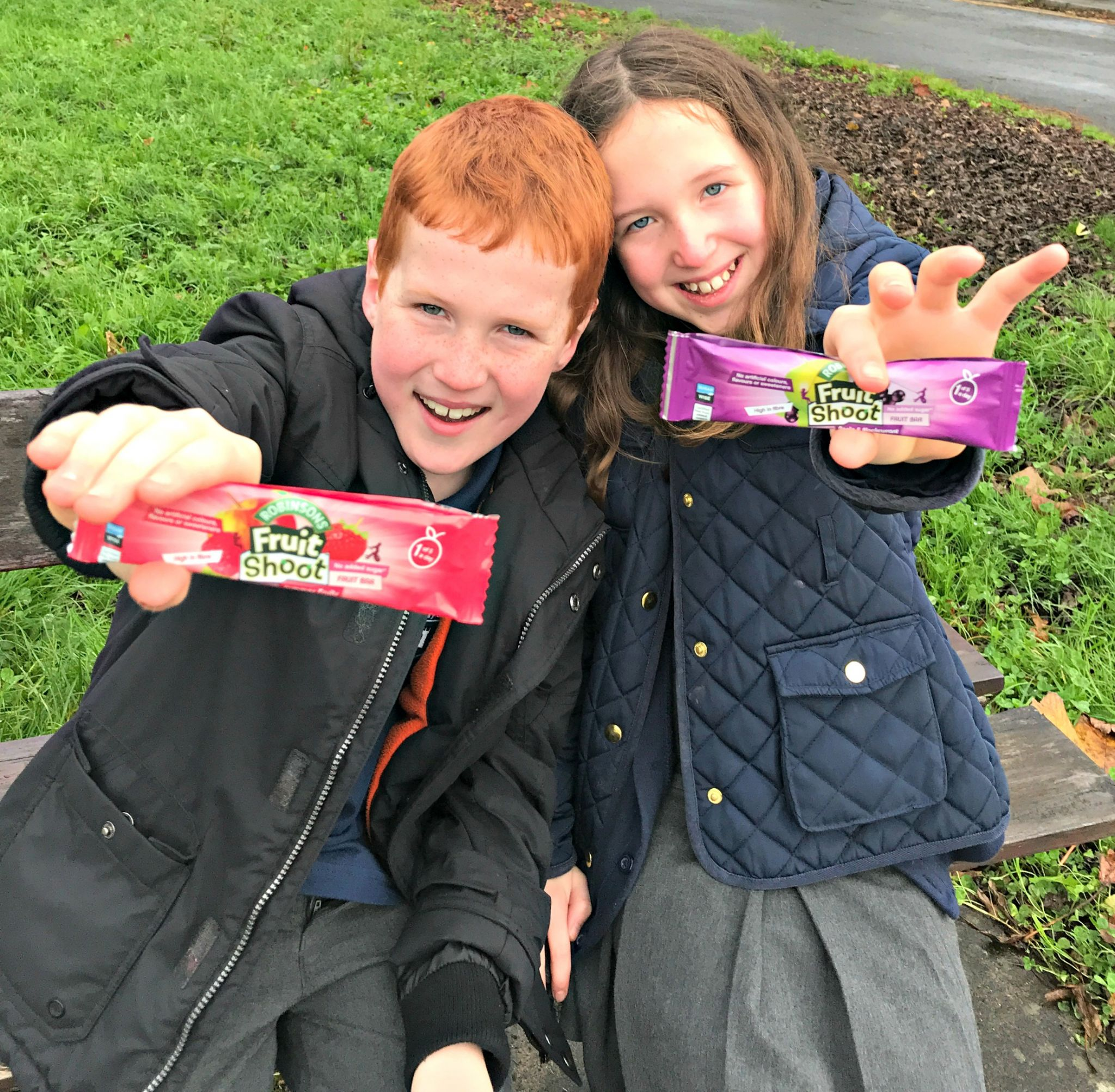 childrens snack bars - Caitlin & Ieuan with their Fruit Shoot Bars