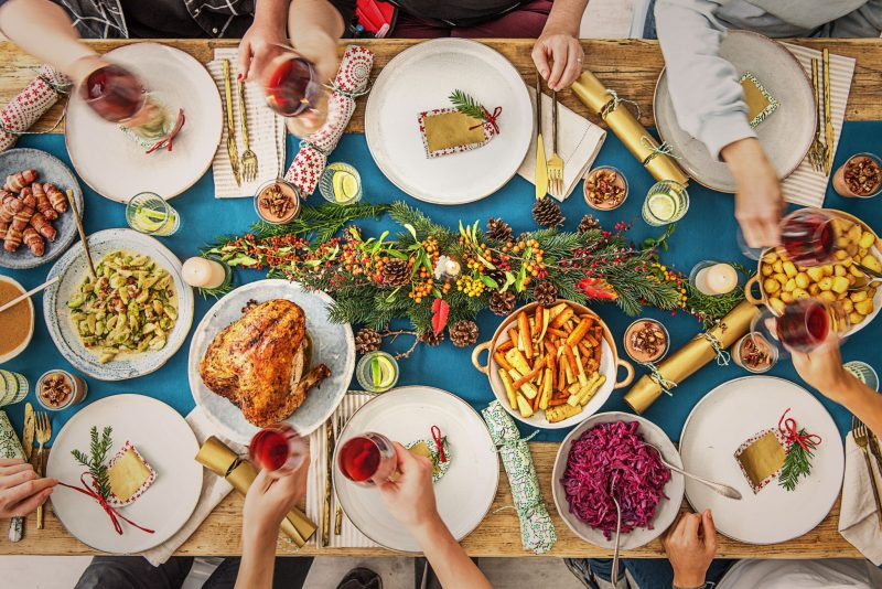 Hello Fresh Christmas Dinner served at table