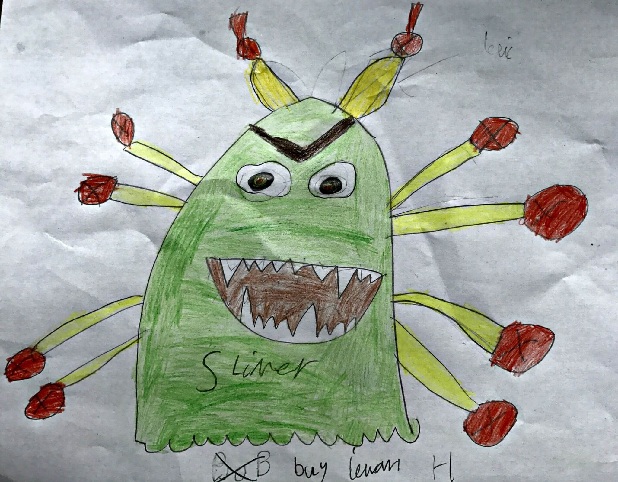Ieuan's drawing of his dream pet - Slimer