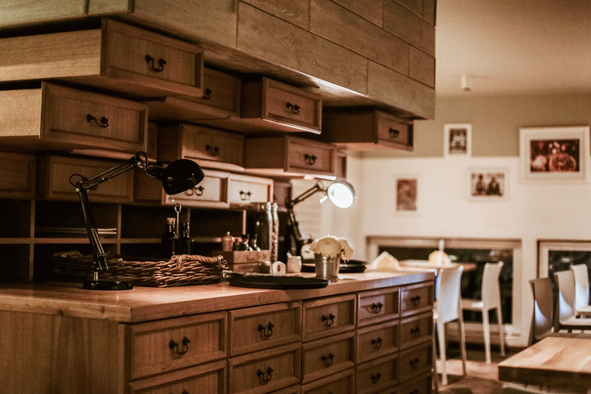 Cozy kitchen with lots of wooden cabinets
