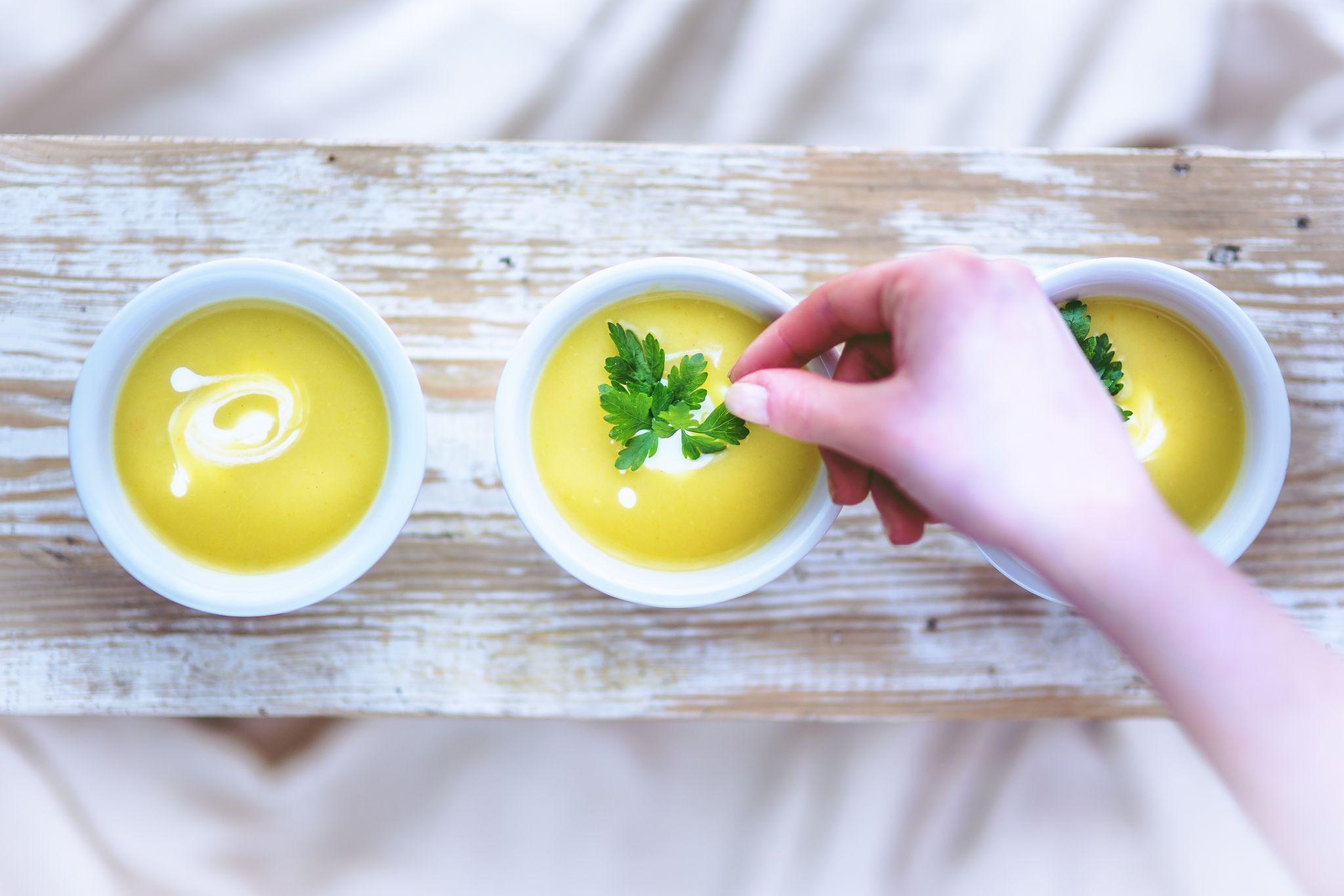3 bowls of leek & potato soup