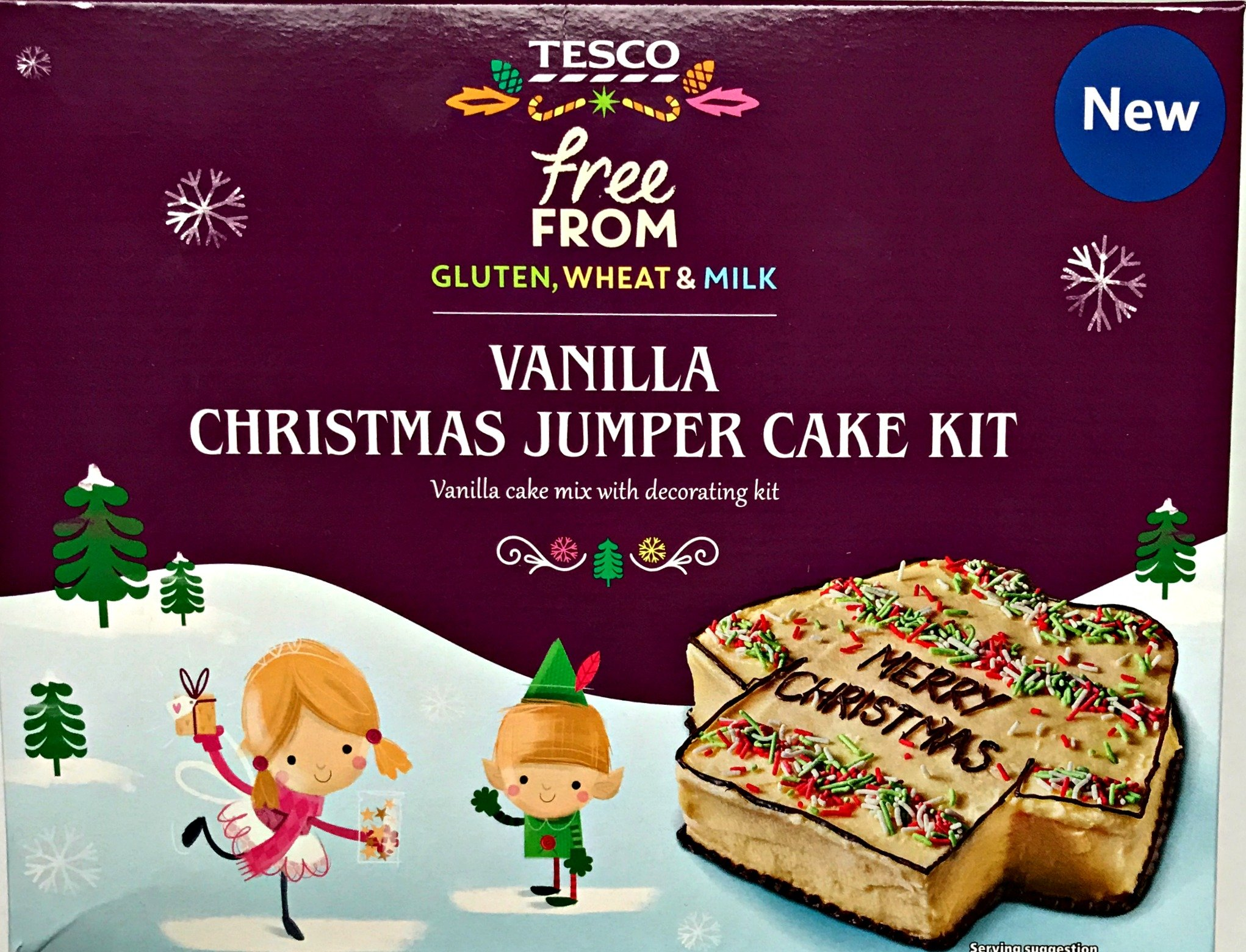 Review Tesco Free From Christmas Jumper Cake Kit