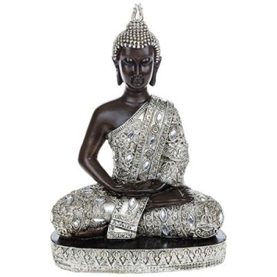 Large Thai Silver Finish Sitting Buddha