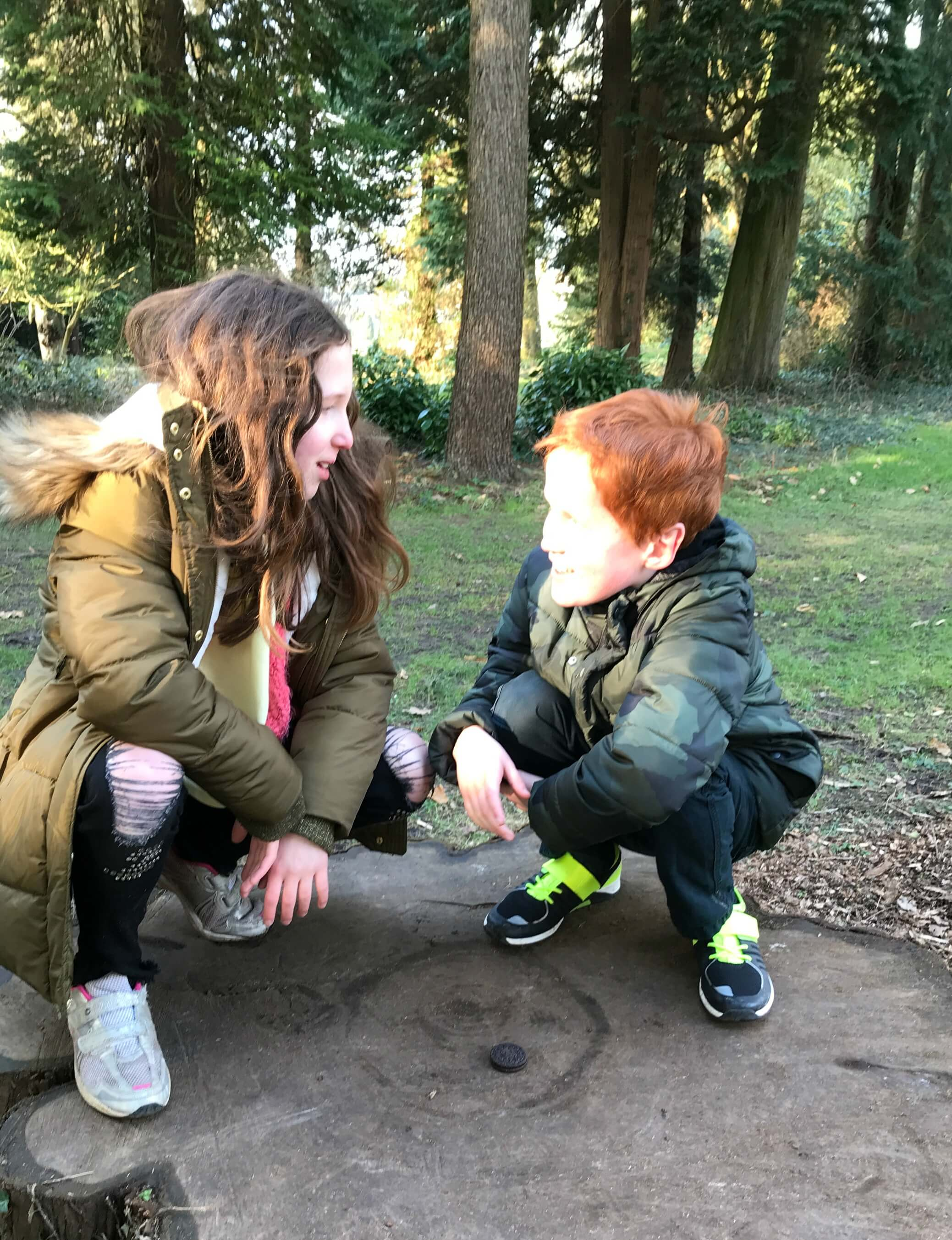 New wooded play area at Dyffryn Gardens - Caitlin & Ieuan in conversation during the Oreo Cookie Quest