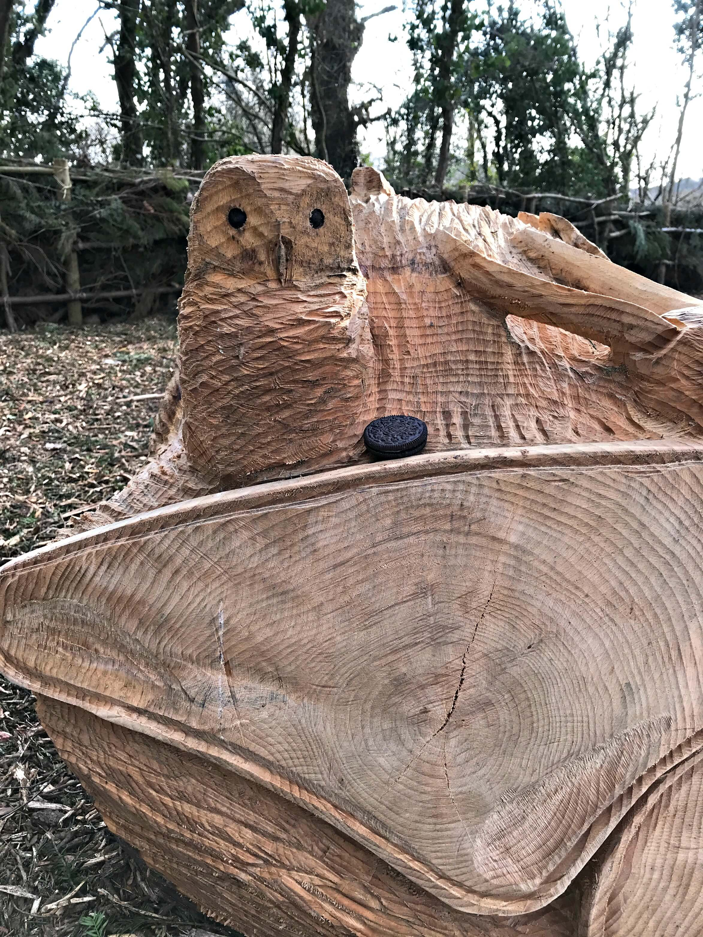 Carved owl in the new play area at Dyffryn Gardens on our Oreo Cookie Quest