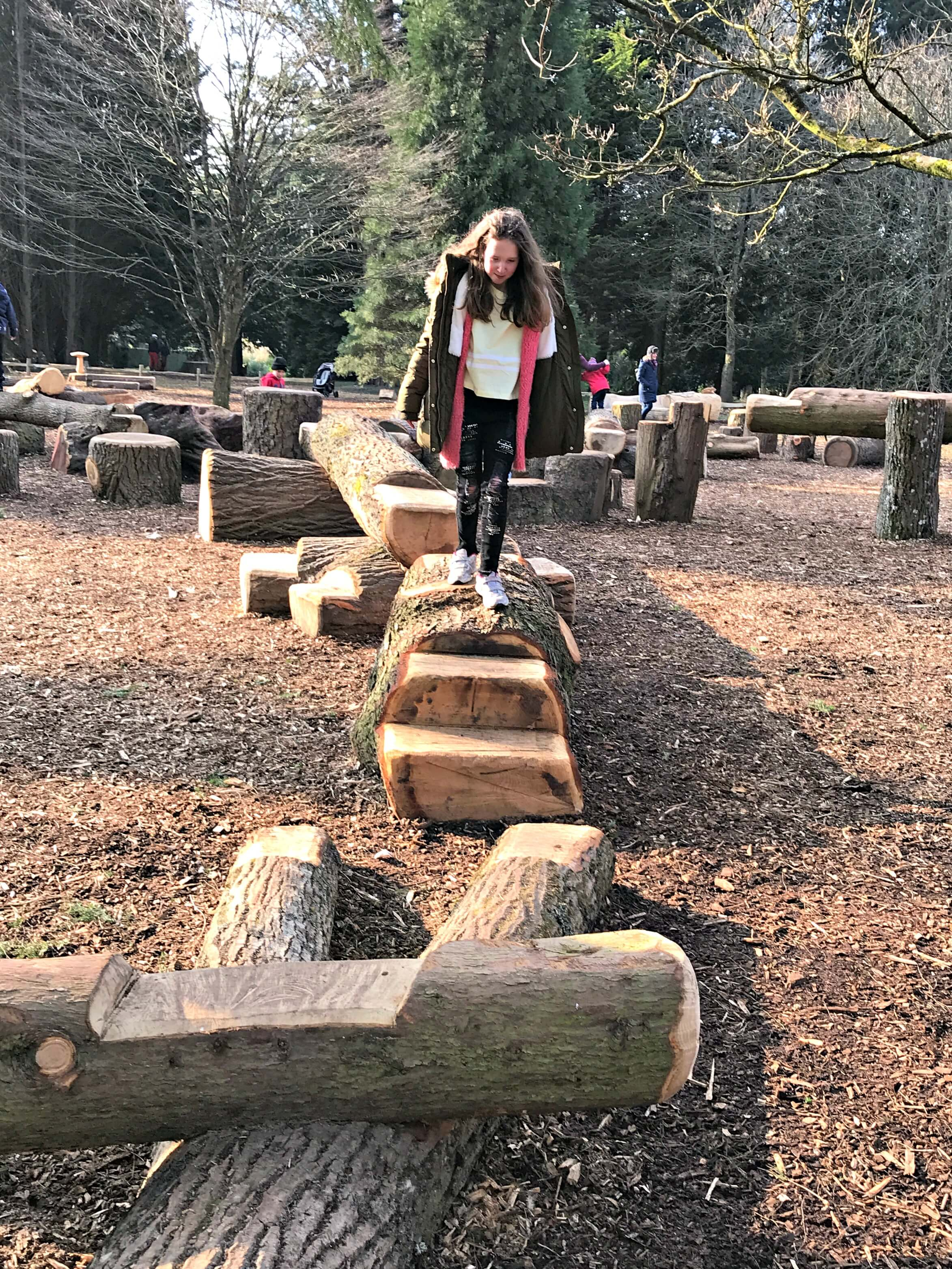 New wooded play area at Dyffryn Garden. Caitlin explores on her Oreo Cookie Quest