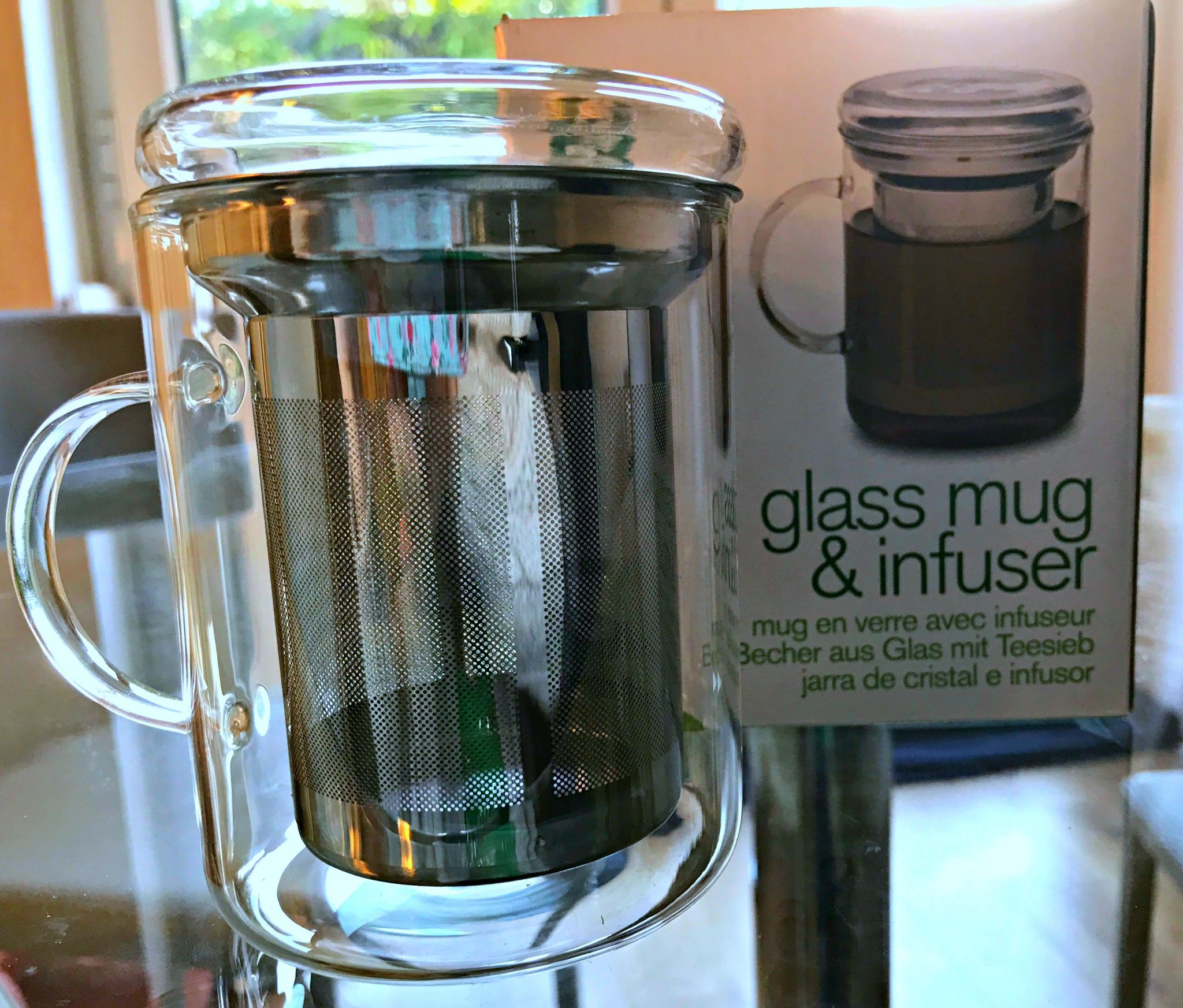 Adagio gourmet tea: glass mug and infuser