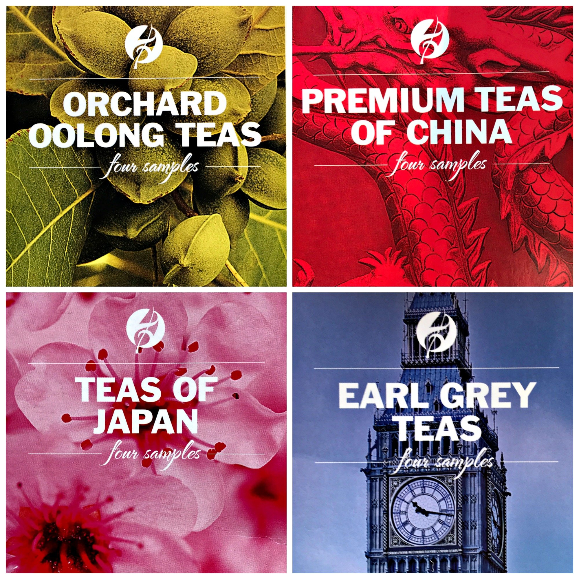 Adagio Gourmet Tea - sample boxes - Orchard Oolong, Premium Teas of China, Teas of Japan and Earl Grey Teas
