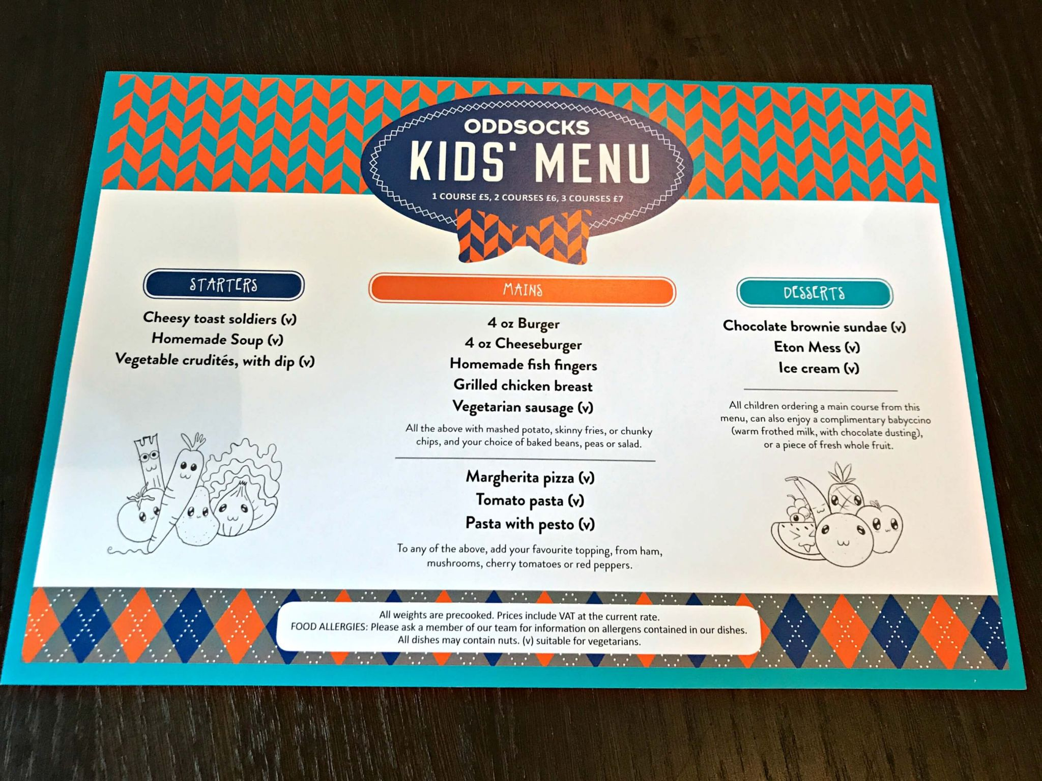 Oddsocks Bar & Kitchen Kids' Menu