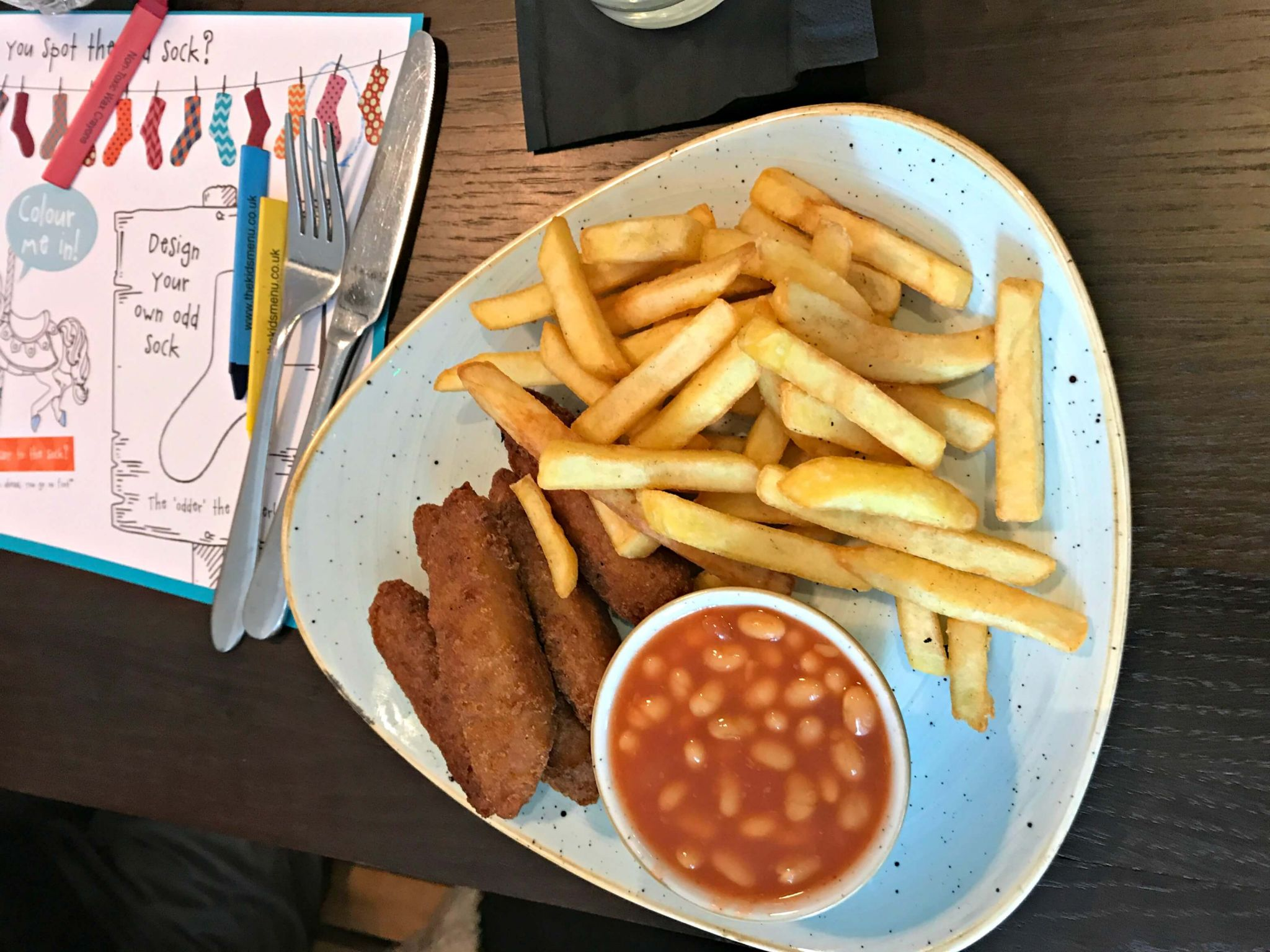 Oddsocks Bar & Kitchen homemade fish fingers, beans and chips