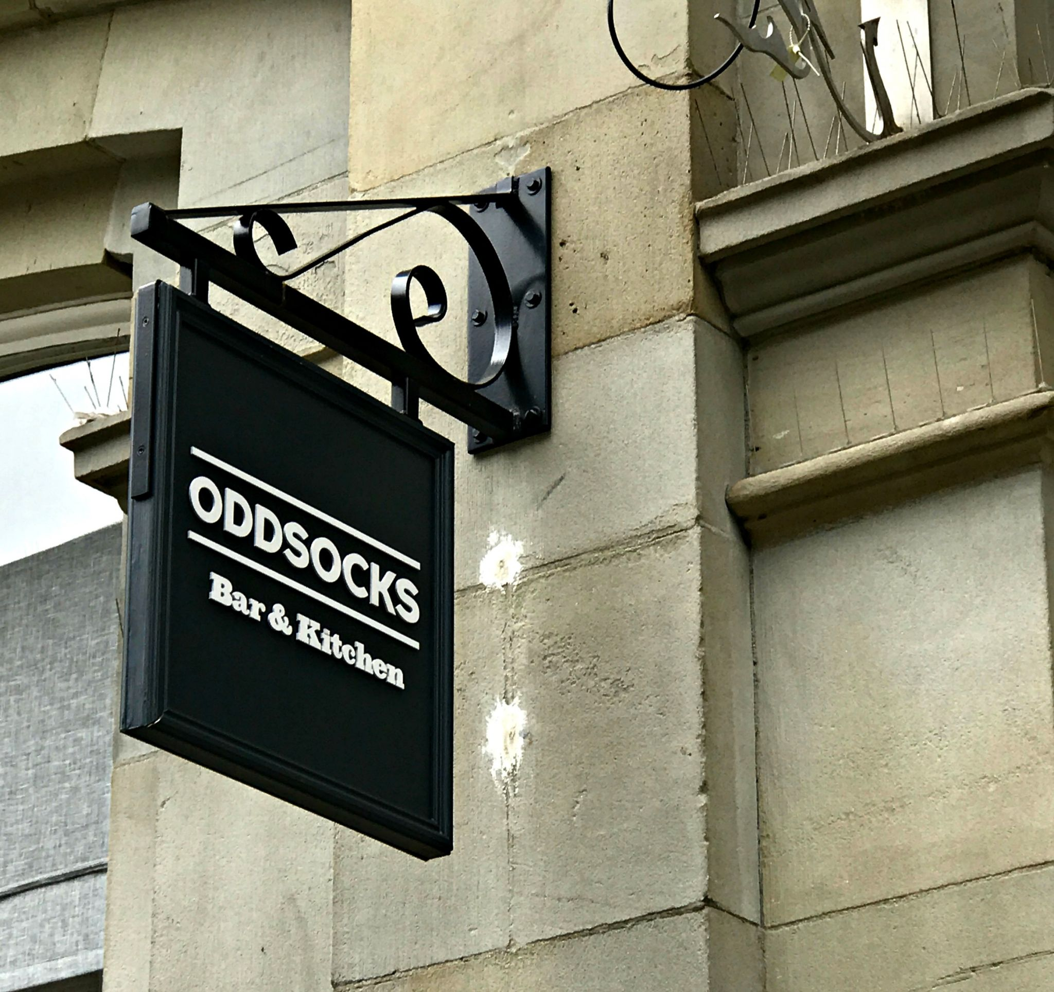 Oddsocks Bar & Kitchen Cardiff signage
