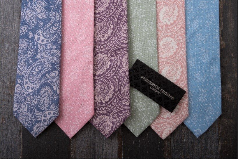 Father's Day 6 pastel / paisley ties from Frederick Thomas London