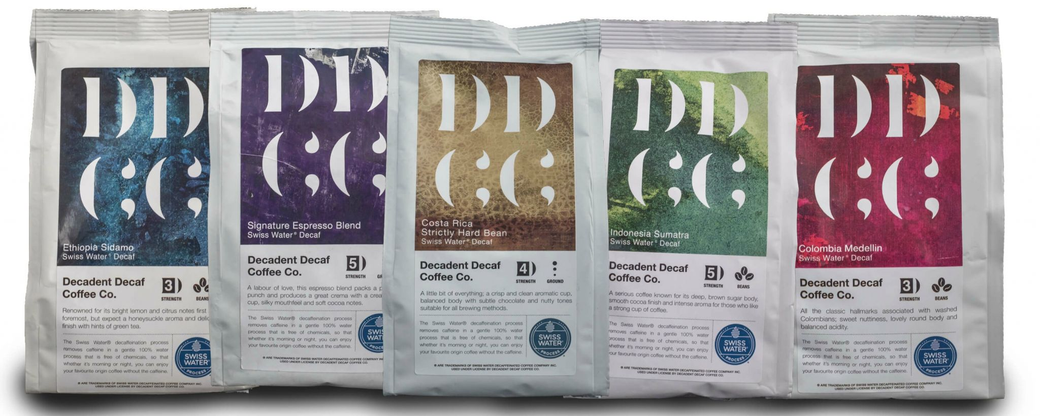 speciality coffees - Decadent Decaf range of coffees