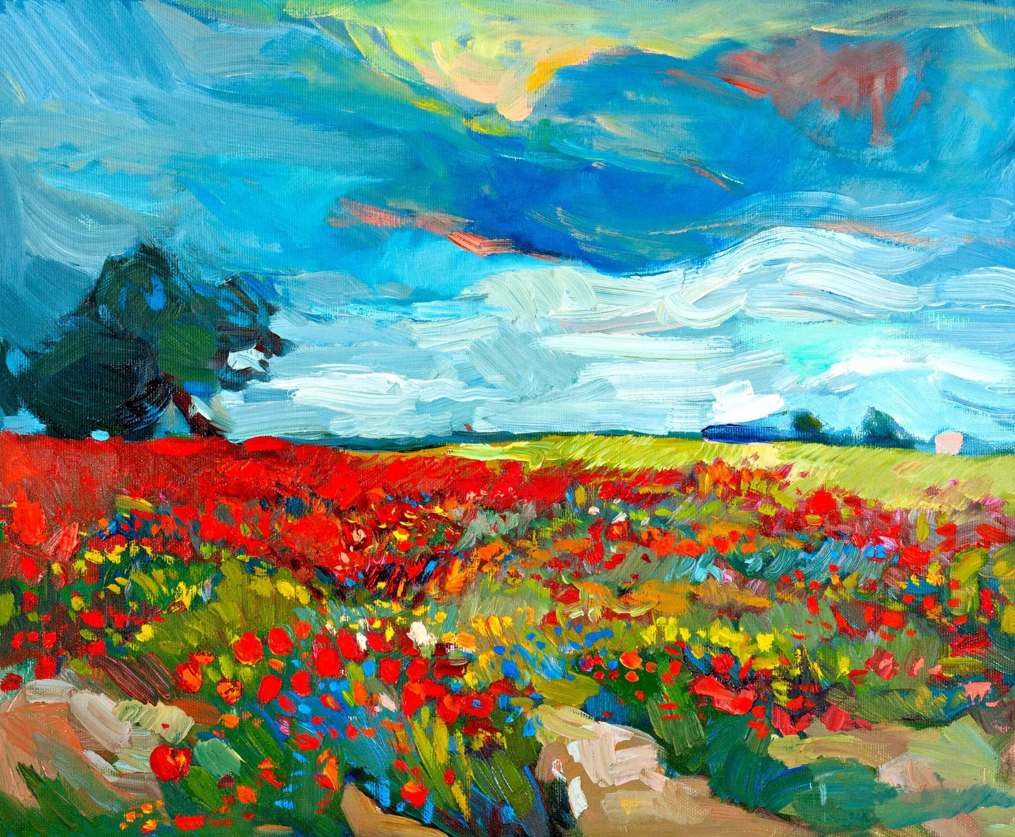 Artwork for the home - beautiful oil painting of poppies in a field